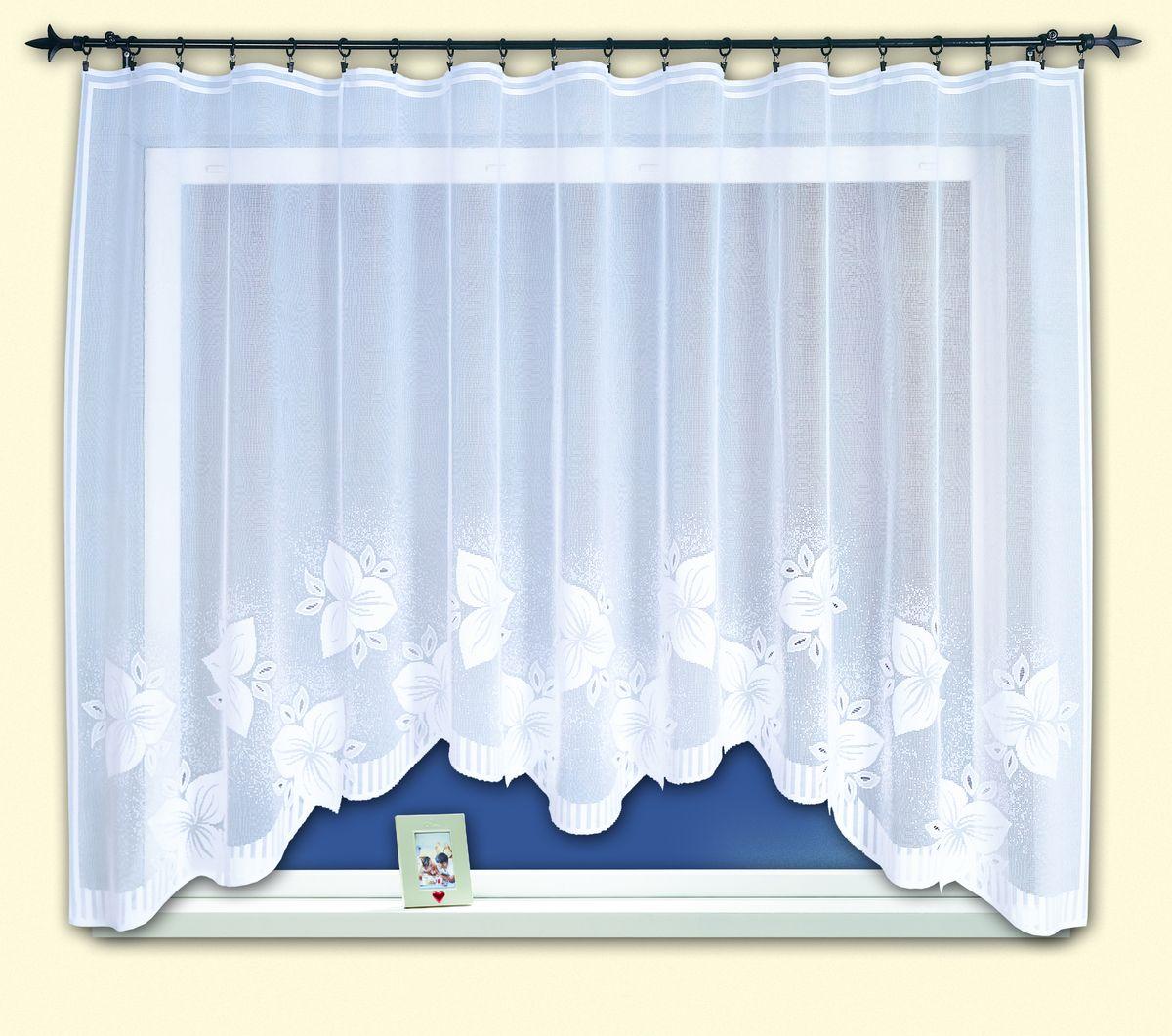 Гардина для кухни Haft Magia Wzorow, на ленте, цвет: белый, высота 160 см. 33960/16033960/160Воздушная гардина Haft Magia Wzorow, изготовленная из полиэстера белого цвета, станет великолепным украшением любого окна. Оригинальный цветочный рисунок, украшающий нижний край гардины, и нежная фактура материала привлекут к себе внимание и органично впишутся в интерьер комнаты. В гардину вшита шторная лента. Размер гардины: 160 см х 300 см. Главный ассортимент компании Haft - это тюль и занавески. Haft предлагает готовые решения для ваших окон, выпуская готовые наборы штор, которые остается только распаковать и повесить. Модельный ряд отличает оригинальный дизайн, высокое качество. Занавески, шторы, гардины Haft долговечны, прочны, практически не сминаемы, они не притягивают пыль и за ними легко ухаживать. Вся продукция бренда Haft выполнена на современном оборудовании из лучших материалов.