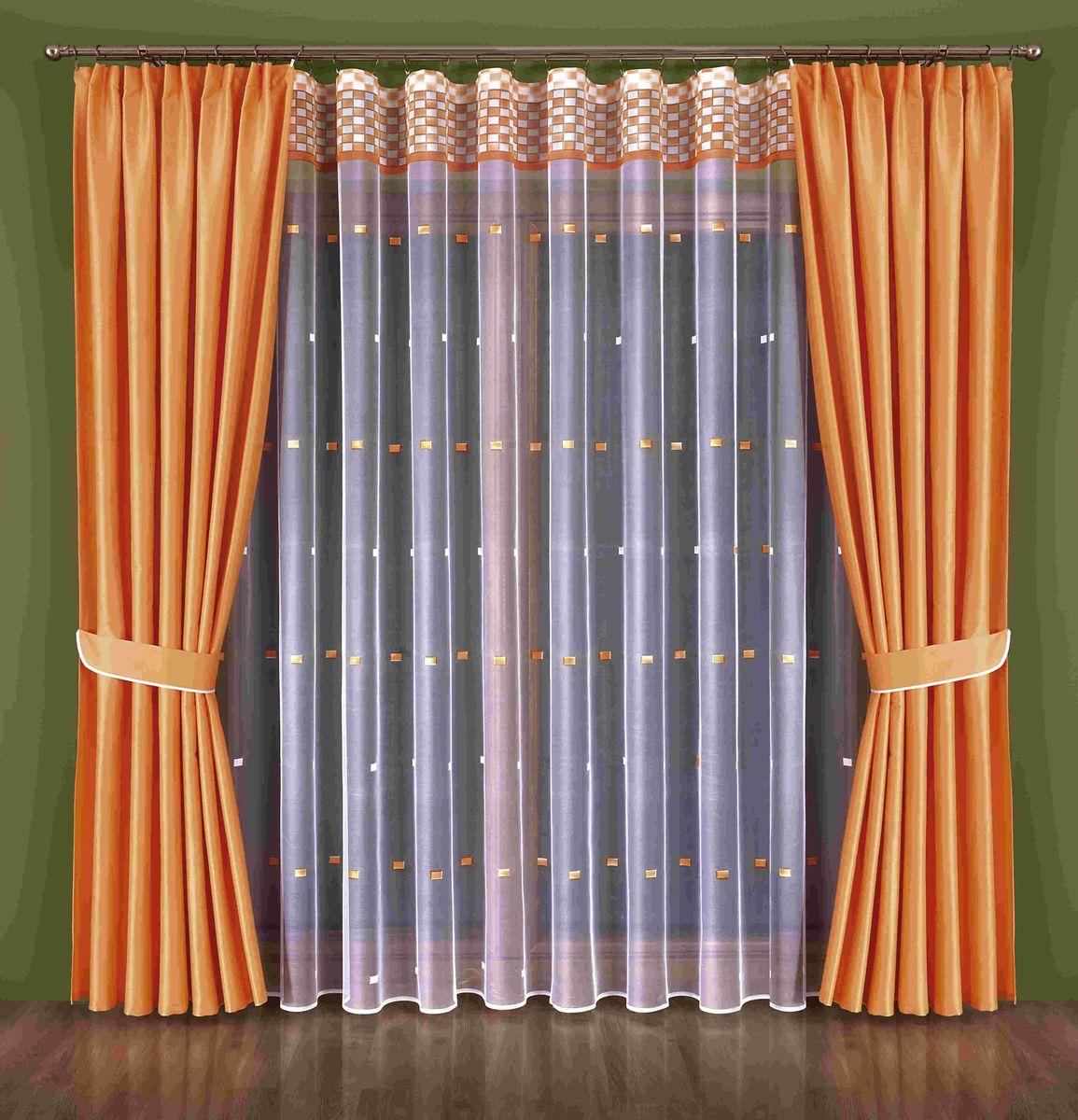 Комплект штор Wisan Kenza, на ленте, цвет: оранжевый, белый, высота 250 см348WКомплект штор Wisan Kenza выполненный из полиэстера, великолепно украсит любое окно. В комплект входят 2 шторы, тюль и 2 подхвата. Оригинальный узор придает комплекту особый стиль и шарм. Тонкое жаккардовое плетение, нежная цветовая гамма и роскошное исполнение - все это делает шторы Wisan Kenza замечательным дополнением интерьера помещения. Комплект оснащен шторной лентой для красивой сборки. В комплект входит: Штора - 2 шт. Размер (ШхВ): 180 см х 250 см. Тюль - 1 шт. Размер (ШхВ): 600 см х 250 см. Подхват - 2 шт. Фирма Wisan на польском рынке существует уже более пятидесяти лет и является одной из лучших польских фабрик по производству штор и тканей. Ассортимент фирмы представлен готовыми комплектами штор для гостиной, детской, кухни, а также текстилем для кухни (скатерти, салфетки, дорожки, кухонные занавески). Модельный ряд отличает оригинальный дизайн, высокое качество. Ассортимент продукции постоянно пополняется.