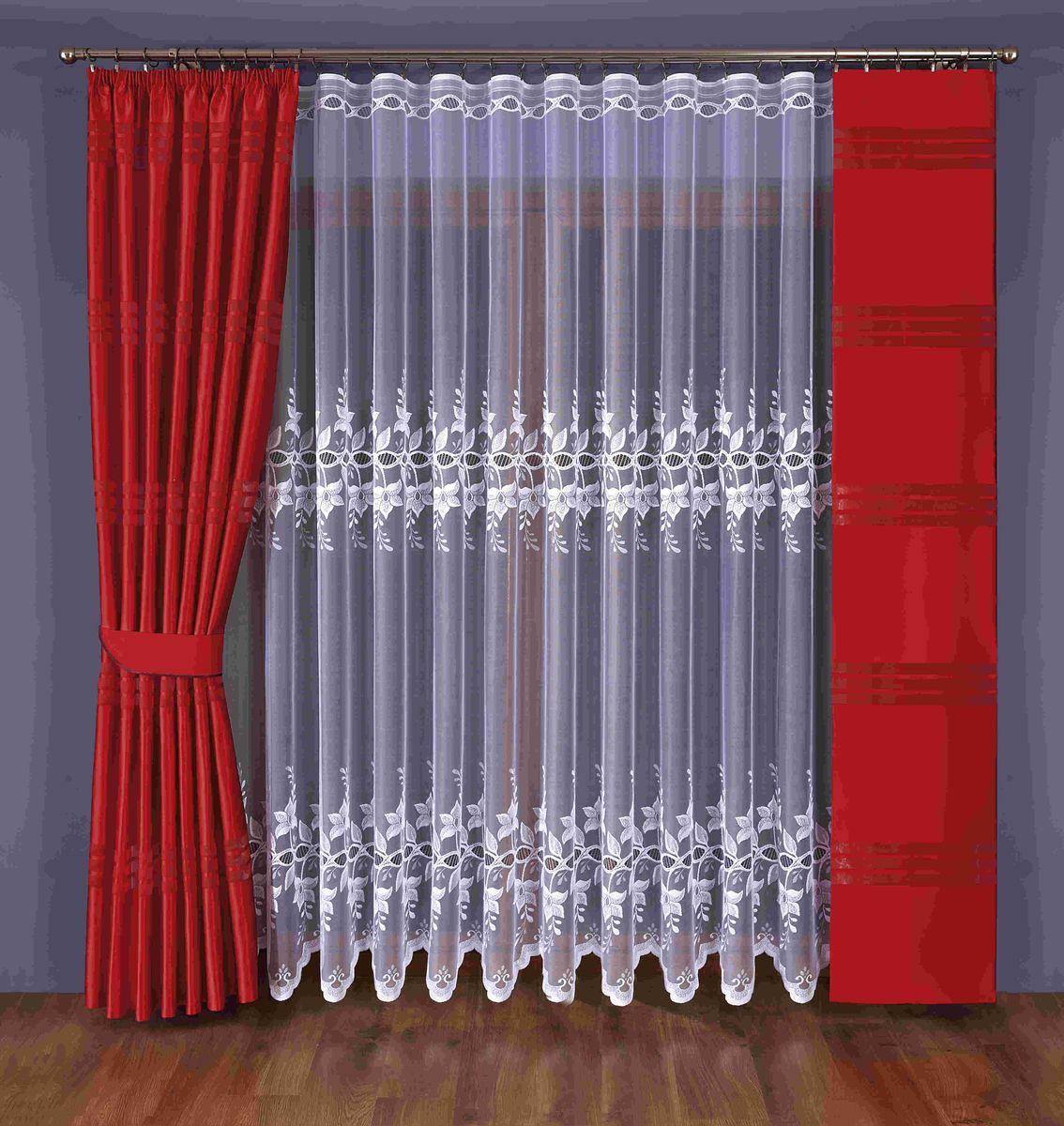 Комплект штор Wisan Eunika, на ленте, цвет: белый, красный, высота 245 см351 WКомплект штор Wisan Eunika выполненный из полиэстера, великолепно украсит любое окно. В комплект входят 2 плотные шторы, тюль и 1 подхват. Оригинальный и яркий дизайн придает комплекту особый стиль и шарм. Качественный материал и тонкое плетение, нежная цветовая гамма и роскошное исполнение - все это делает шторы Wisan Eunika замечательным дополнением интерьера помещения. Комплект оснащен шторной лентой для красивой сборки. В комплект входит: Тюль - 1 шт. Размер (ШхВ): 400 см х 245 см. Штора - 1 шт. Размер (ШхВ): 170 см х 245 см. Штора - 1 шт. Размер (ШхВ): 40 см х 245 см. Подхват - 1 шт. Фирма Wisan на польском рынке существует уже более пятидесяти лет и является одной из лучших польских фабрик по производству штор и тканей. Ассортимент фирмы представлен готовыми комплектами штор для гостиной, детской, кухни, а также текстилем для кухни (скатерти, салфетки, дорожки, кухонные занавески). Модельный ряд...