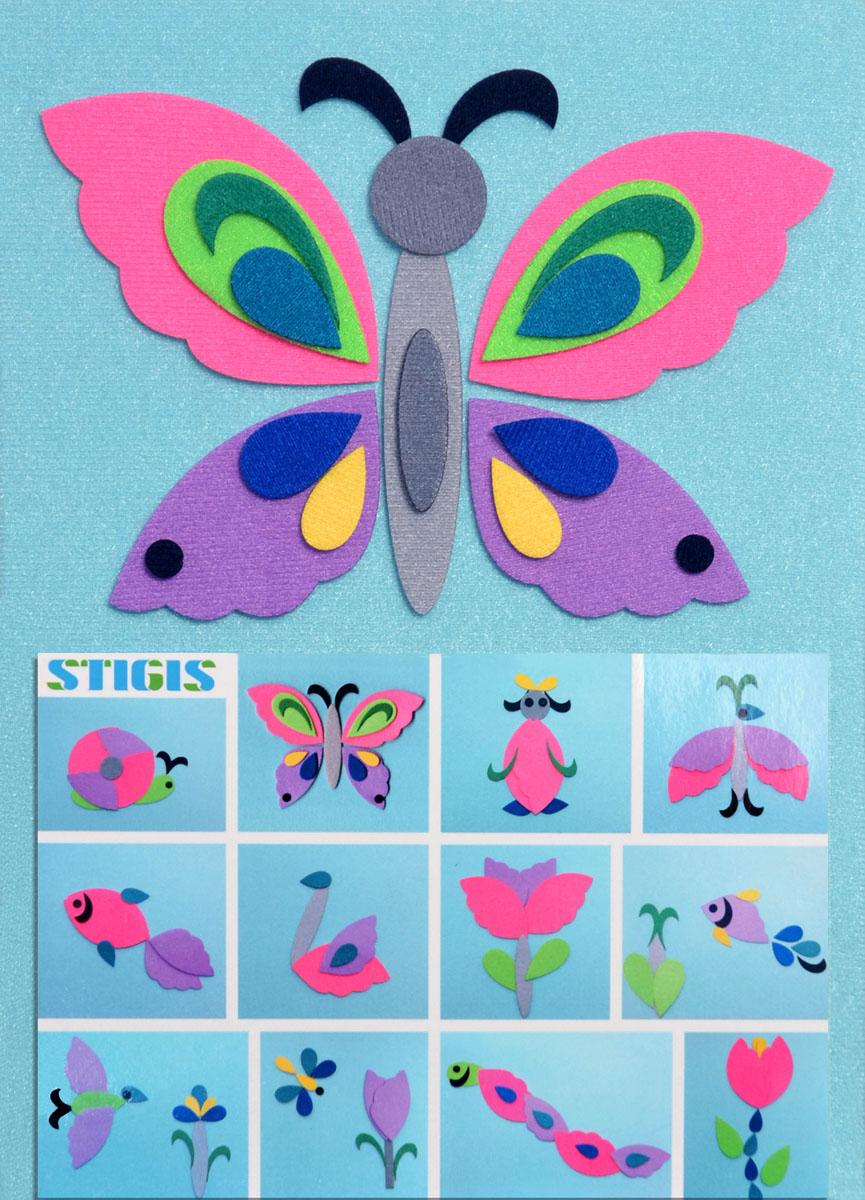 Stigis Игра на липучках Стигисы БабочкаСБС помощью набора Бабочка ваш ребенок сможет легко смастерить различные картинки. В набор входят 33 фигурки с микроскопическими липучками. Благодаря стигис-технологии, фигурки прикрепляются не только на любое место на фоне, но и друг на друга, что создает бесконечное разнообразие вариантов. Фантазия ребенка безгранична, и разноцветные детальки с легкостью превращаются из птичек в рыбок, черепаху, цветочки, улитку, смешного человечка, и наконец, в бабочку! Данная мозаика развивает творчество, фантазию, мелкую моторику, восприятие цвета, знакомит с важным понятием - симметрия. Игра отлично подойдет для занятий в группе, в дороге, проведения различных конкурсов. Является улучшенным аналогом фланелеграфа - пособия, используемого во всех детских садах.