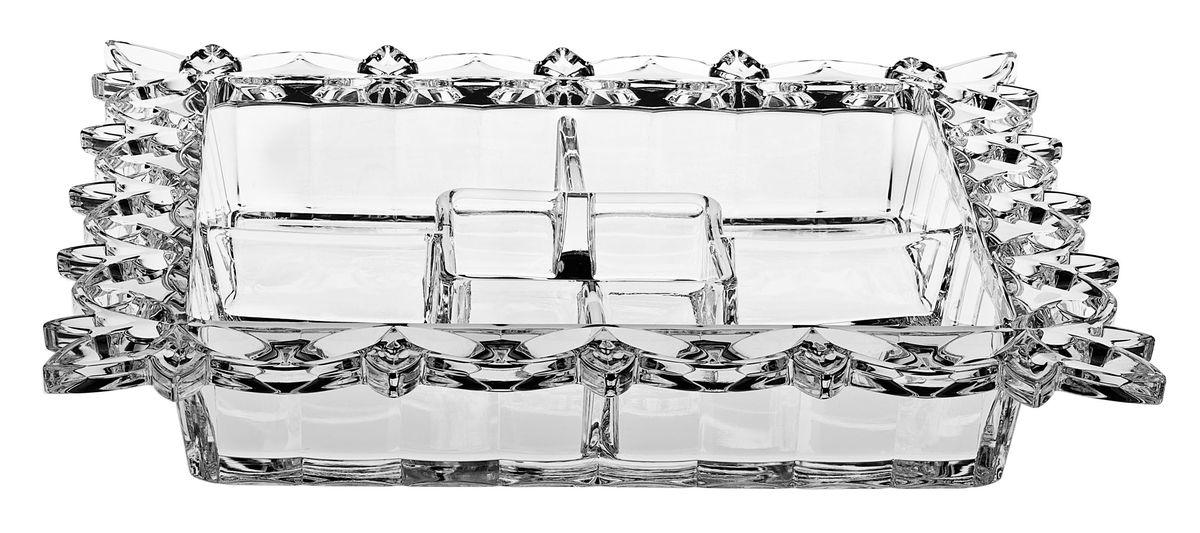 Кабарет Crystal Bohemia, 35,5 см х 35,5 см990/90302/0/27910/355-109Кабарет Crystal Bohemia изготовлен из хрусталя и имеет квадратную форму с пятью секциями. Края изделия декорированы красивым цветочным рельефом. Кабарет используется для подачи на стол нескольких видов соусов. Кроме того, это идеальная посуда для подачи разных сортов икры. Кабарет сочетает в себе изысканный дизайн с максимальной функциональностью. Он прекрасно впишется в интерьер вашей кухни и станет достойным дополнением к кухонному инвентарю.