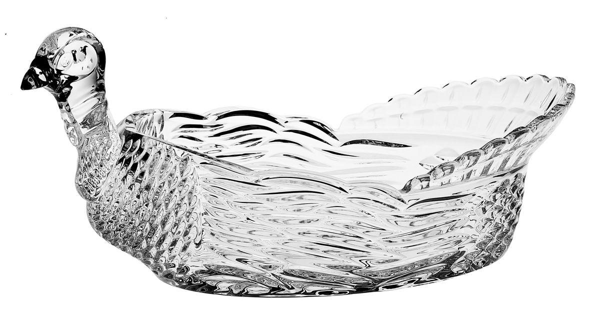 Доза-салатник Crystal Bohemia Тетерев, 31 см х 19 см х 15,5 см990/69301/0/69731/315-109Доза-салатник Crystal Bohemia Тетерев изготовлена из хрусталя и выполнена в форме тетерева, декорирована красивым рельефом. Данная доза-салатник сочетает в себе изысканный дизайн с максимальной функциональностью. Она прекрасно впишется в интерьер вашей кухни и станет достойным дополнением к кухонному инвентарю. Доза-салатник не только украсит ваш кухонный стол и подчеркнет прекрасный вкус хозяйки, но и станет отличным подарком.