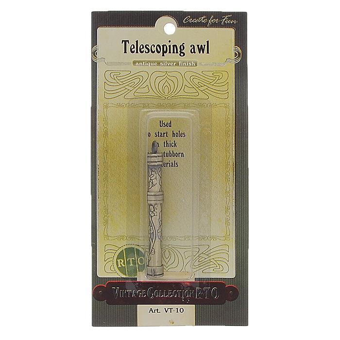 Шило телескопическое RTO611912Шило телескопическое RTO, изготовлено из металла, в защитном чехле выполненном под старину с серебряным покрытием. Шило используется для проделывание дырок в толстых т плотных материалах. Чехол декорирован цветочным орнаментом. Имеется металлическая петелька для подвешивания. Такое стильное и изящное устройство - незаменимый аксессуар для швей.