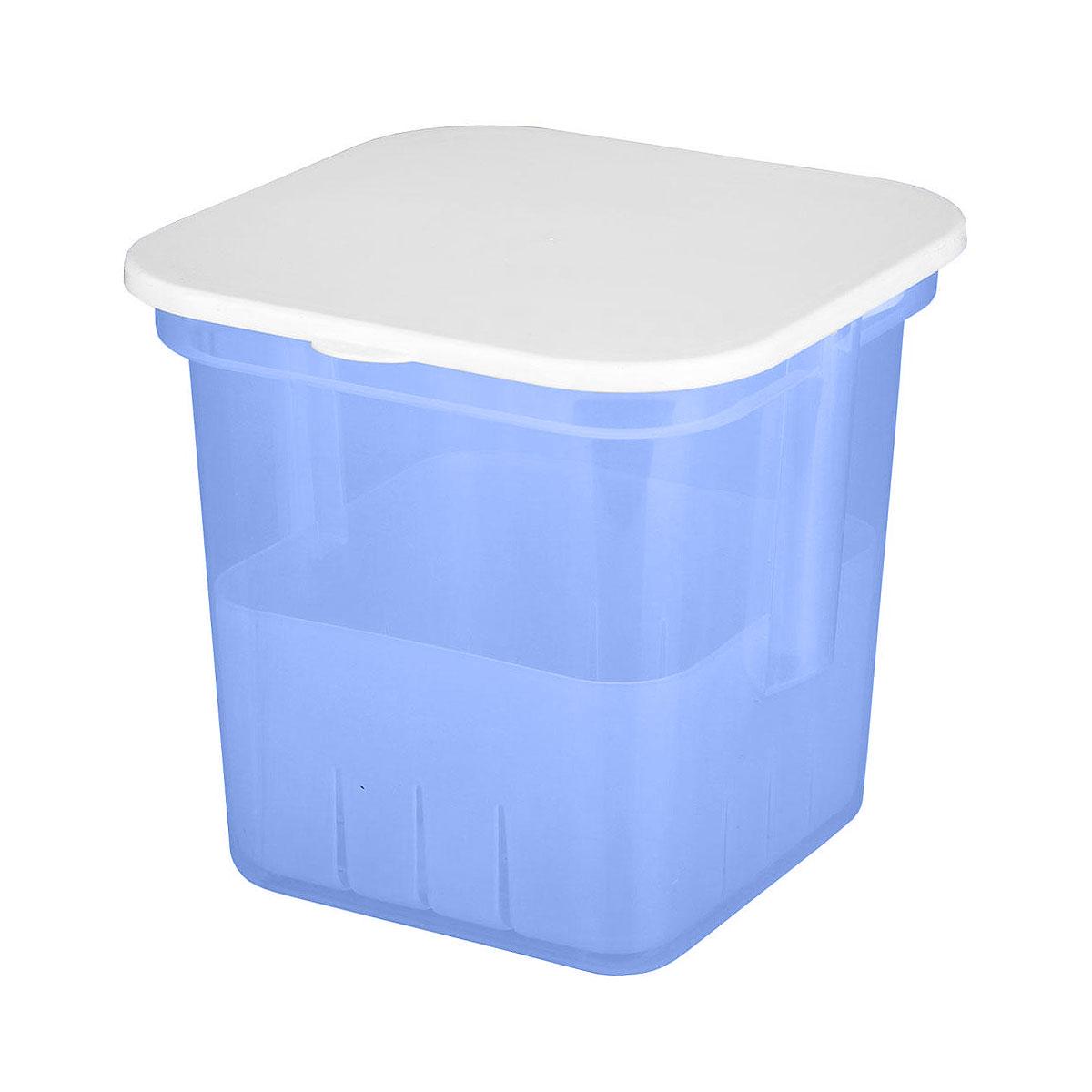 Банка для солений Альтернатива, с крышкой и вставкой, цвет: голубой, 7 лM1252Банка Альтернатива предназначена для размещения в ней солений. Выполнена из высокопрочного пластика. В комплекте съемный контейнер с ручкой, на дне которого имеются отверстия. Это позволяет легко вынимать соленья, при этом рассол быстро стечет вниз. С такой банкой удобно и хранить, и перевозить соленья в рассоле. Банка закрывается крышкой белого цвета. Объем: 7 л.