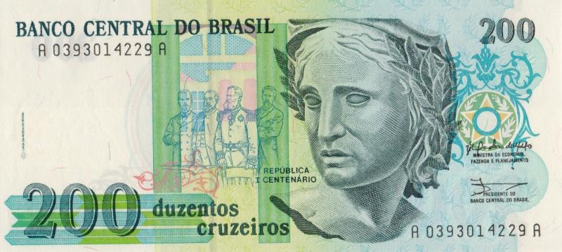 Банкнота номиналом 200 крузейро. Бразилия. 1990 год