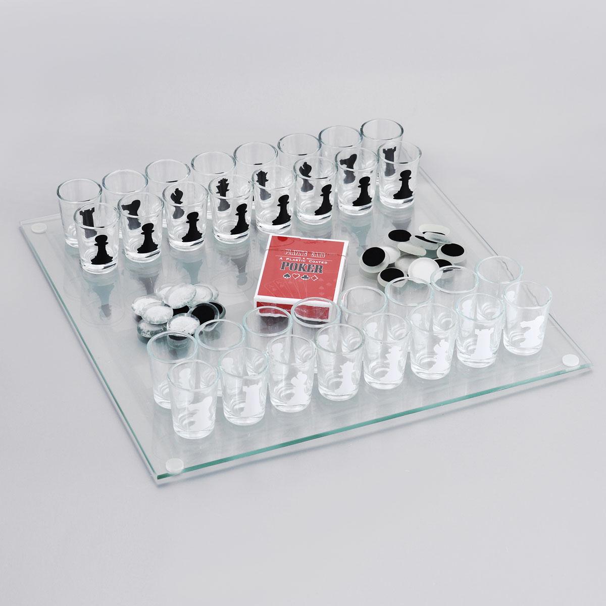 Игровой набор Эврика: карты, шашки, шахматы89784Шахматы - классическая игра не для слабых умов, а пьяные шахматы - еще и для неслабых духом людей. Ведь это уже не классическое, а весьма оригинальное развлечение - фигурами в нем выступают рюмки. Можно наполнить их предпочтительными напитками и устроить двойное соревнование: на интеллект и на выносливость. Соперники наполняют стопки горячительным напитком, и как только не удалось сберечь очередную фигуру, придется выпить содержимое рюмки с её изображением. Дополнительно в универсальный комплект входят стеклянная доска для шахмат, матовые и прозрачные фишки небольшого размера для игры в шашки и карты для покера. Разнообразьте свои праздники, сделав их как минимум раза в три веселее с игровым набором Эврика, а также подарите такую возможность близким. Размер игрового поля: 35 см х 35 см. Диаметр стопки (по верхнему краю): 3,5 см. Высота стопки: 4,7 см.