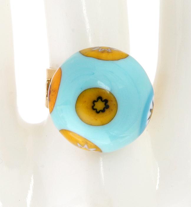 Кольцо коктейльное Грация. Муранское стекло, бижутерный сплав золотого тона, ручная работа. Murano, Италия (Венеция)RG0004