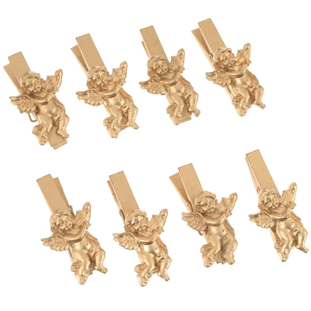 Декоративная прищепка Home Queen Ангел, цвет: золотистый, длина 4 см, 8 шт66559Декоративная прищепка Home Queen Ангел выполнена из дерева и украшена фигуркой из полирезины. В наборе 8 штук. Такой набор прекрасно подойдет для декора комнатных растений, букетов, интерьера, подарков, а также в качестве зажима для штор и замка для бакалеи (например, пакетов с молоком и т.д.).