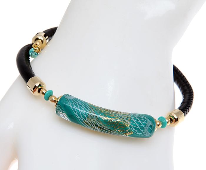 Браслет Майя. Муранское стекло голубого цвета, натуральная кожа, бижутерный сплав золотого тона, ручная работа. Murano, Италия (Венеция)BR0040