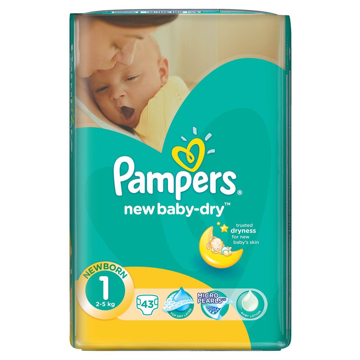 Pampers Подгузники New Baby-Dry 2-5 кг (размер 1) 43 штPA-81499846Подгузники Pampers имеют жемчужные микрогранулы, которые впитывают влаги до 30 раз больше собственного веса и надежно удерживают ее внутри подгузника. Сохраняют сухость до 12 часов. Верхний слой мягкий, как хлопок. Моментально впитывает влагу с кожи. Экстра слой абсорбирует жидкость и распределяет ее по подгузнику. Тянущиеся боковины разработаны так, чтобы малышу было комфортно двигаться, а подгузник сидел плотно. В состав входит экстракт алоэ. Проверено дерматологами.