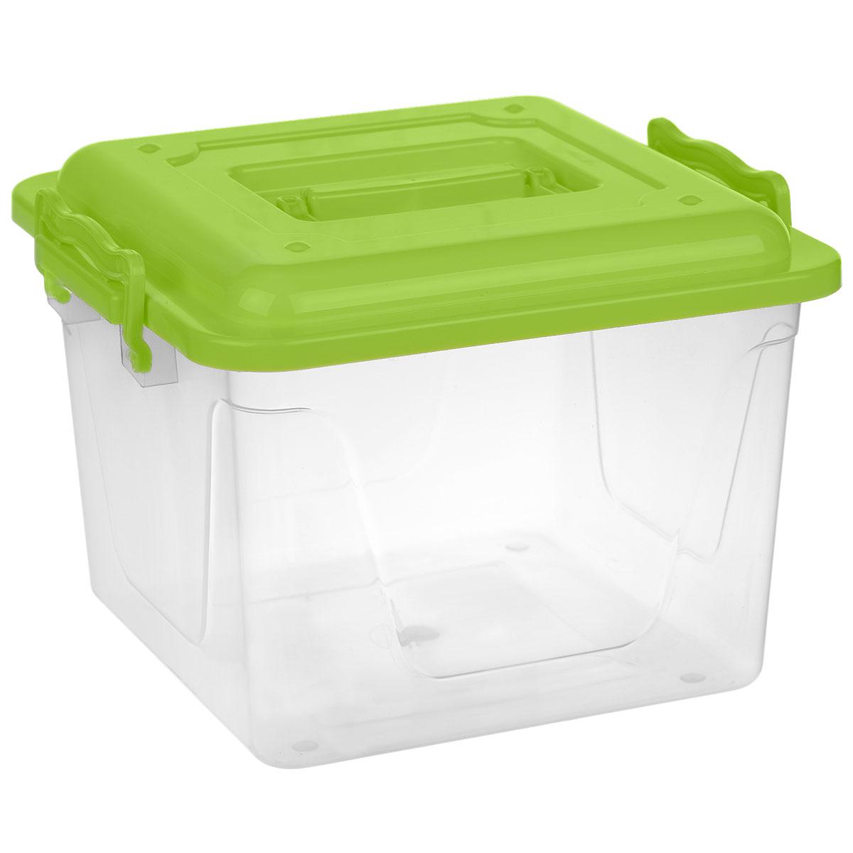 Контейнер Альтернатива, цвет: зеленый, 8,5 лМ1032Контейнер Альтернатива выполнен из прочного пластика. Он предназначен для хранения различных бытовых вещей и продуктов. Контейнер оснащен по бокам ручками, которые плотно закрывают крышку контейнера. Также на крышке имеется ручка для удобной переноски. Контейнер поможет хранить все в одном месте, он защитит вещи от пыли, грязи и влаги.