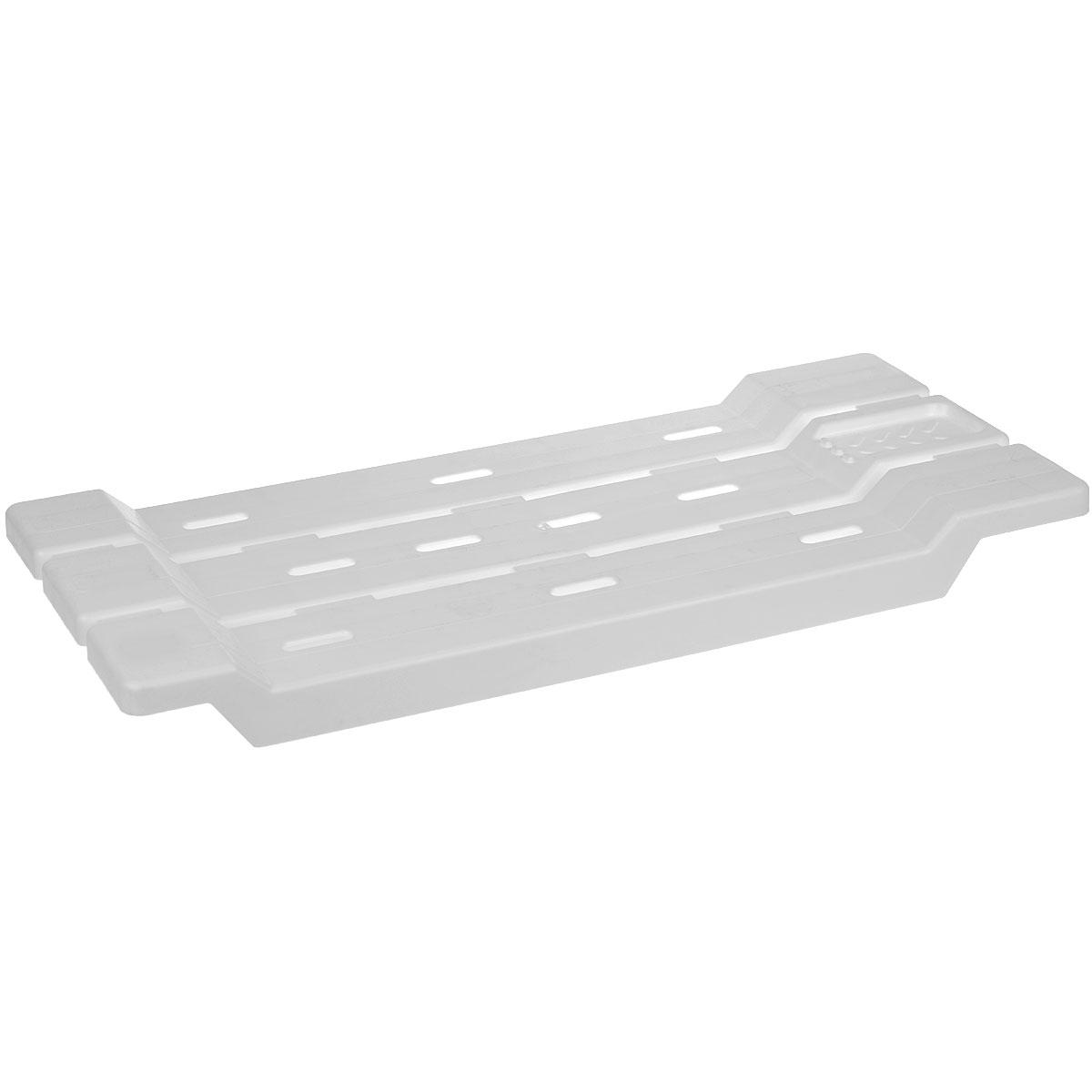 Сиденье-полка на ванну Альтернатива, цвет: белый, 31 x 6 x 68 смМ1552Сиденье-полка на ванну Альтернатива выполнено из пластика и подвешивается на борты ванной. Модель может использоваться как для сиденья при гигиенических процедурах, так и в качестве подставки. Плоские поверхности ребер сиденья препятствуют скольжению поставленных на них предметов. Не царапает ванну, так как в конструкции отсутствуют металлические части. Сиденье-полка подходит как для узкой так и для широкой ванны. Предусмотрено место для мыла.