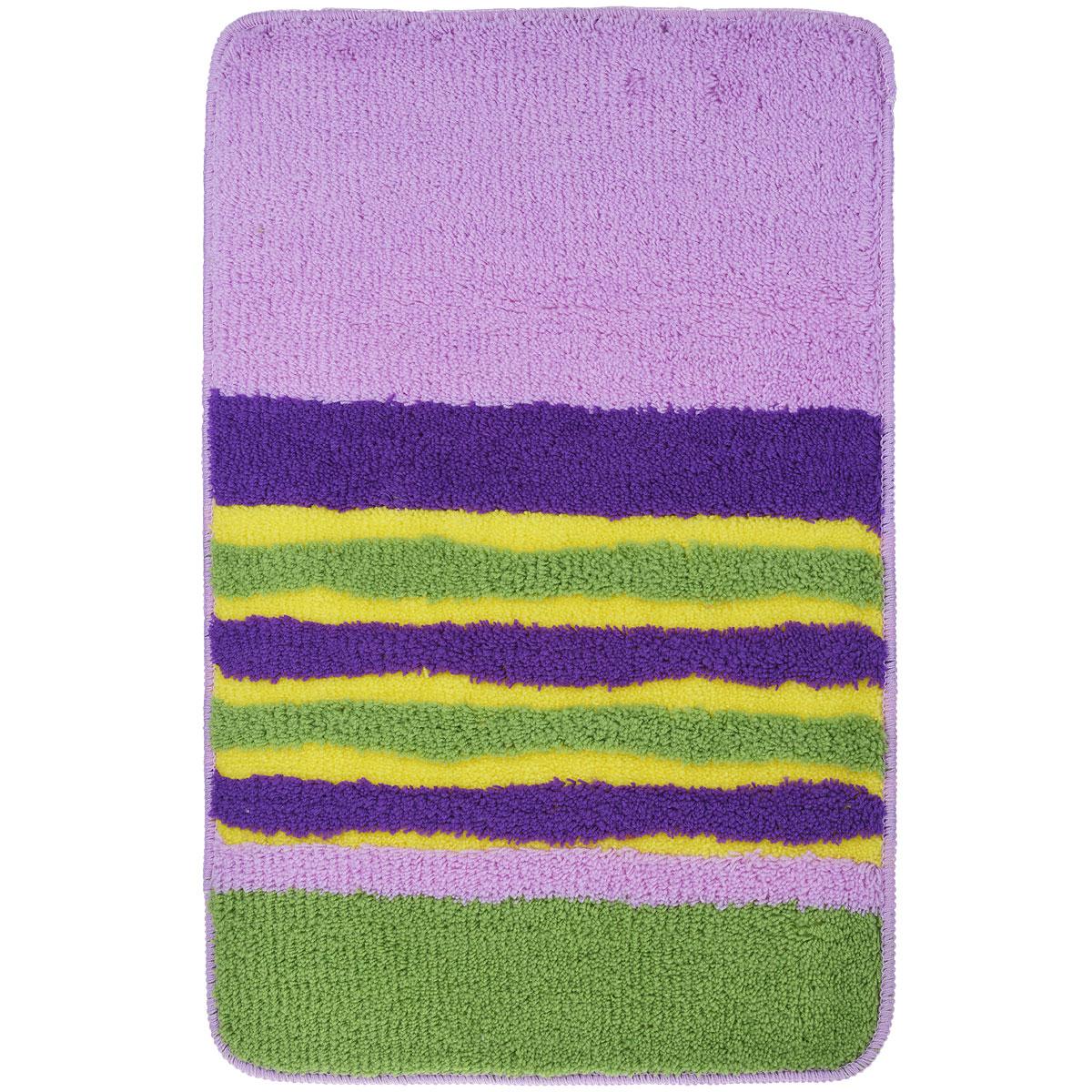 Коврик для ванной комнаты Fresh Code, цвет: сиреневый с полосками, 80 см х 50 см54930Коврик для ванной Fresh Code изготовлен из 100% акрила с латексной основой. Коврик, украшенный ярким цветным рисунком, создаст уют и комфорт в ванной комнате. Длинный ворс мягко соприкасается с кожей стоп, вызывая только приятные ощущения. Рекомендации по уходу: - стирать в ручном режиме, - не использовать отбеливатели, - не гладить, - не подходит для сухой чистки (химчистки).