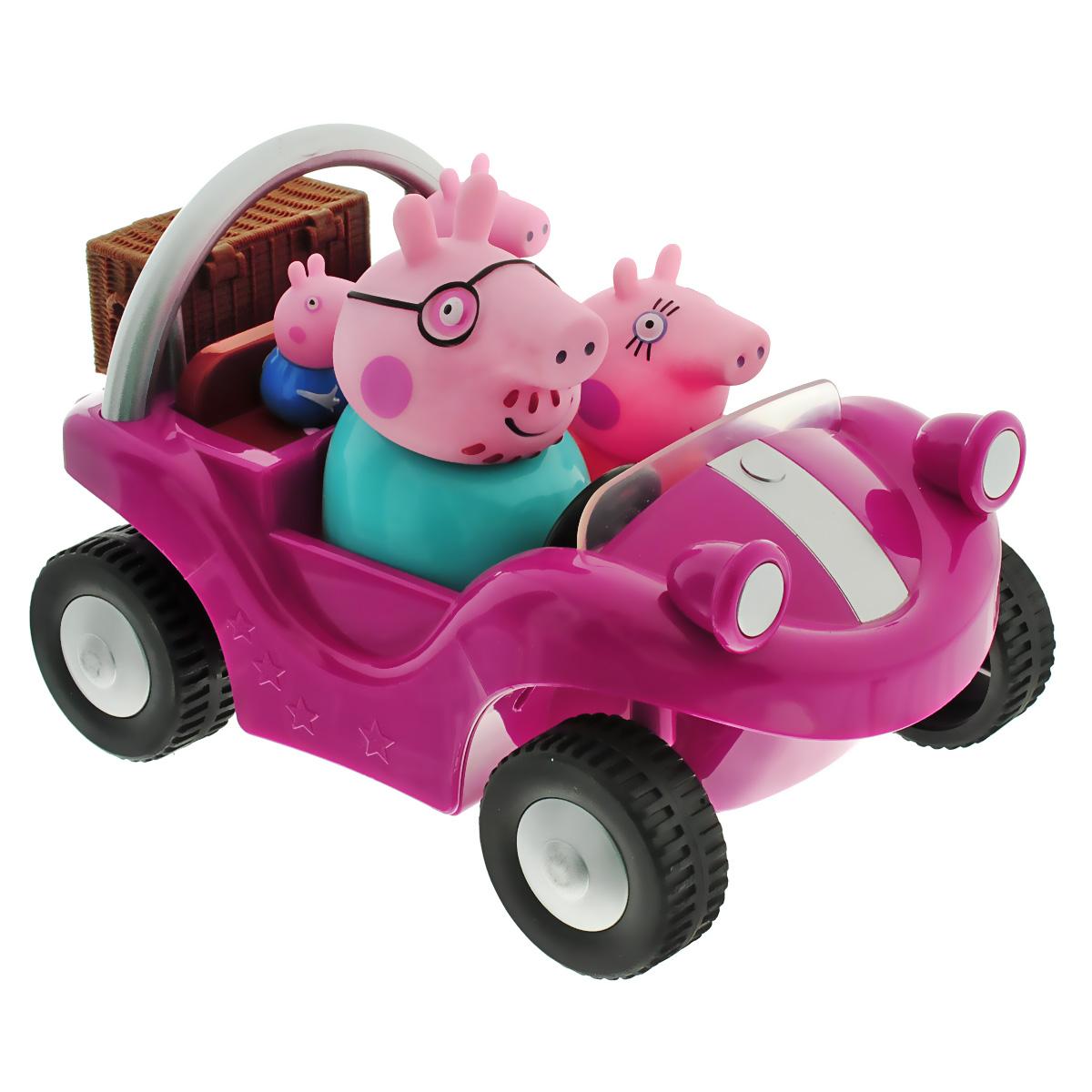 Игрушка Peppa Pig Спортивная машина, цвет: ярко-розовый24068Пеппа и ее семья решили прокатиться в стильном спортивном автомобиле: папа и мама сели спереди, а Пеппа и Джордж - сзади. Теперь они могут отправиться в магазин, на пикник или даже поучаствовать в спортивных соревнованиях. Веселая семья Пеппы не привыкла скучать! Пеппа - это веселая свинка, которая любит играть со своим братиком и друзьями, обожает прыгать по лужам и наряжаться. Игрушка Peppa Pig Спортивная машина выполнена в виде яркого стильного автомобиля с четырьмя несъемными фигурками: мамы, папы, брата Джорджа и Пеппы. Во время сюжетно-ролевой игры у ребенка отрабатываются навыки общения, вырабатываются семейные и общечеловеческие ценности, развиваются кругозор, словарный запас и воображение. И все это сопровождается бурным восторгом от увлекательной игры с любимыми персонажами! Порадуйте своего ребенка таким замечательным подарком!