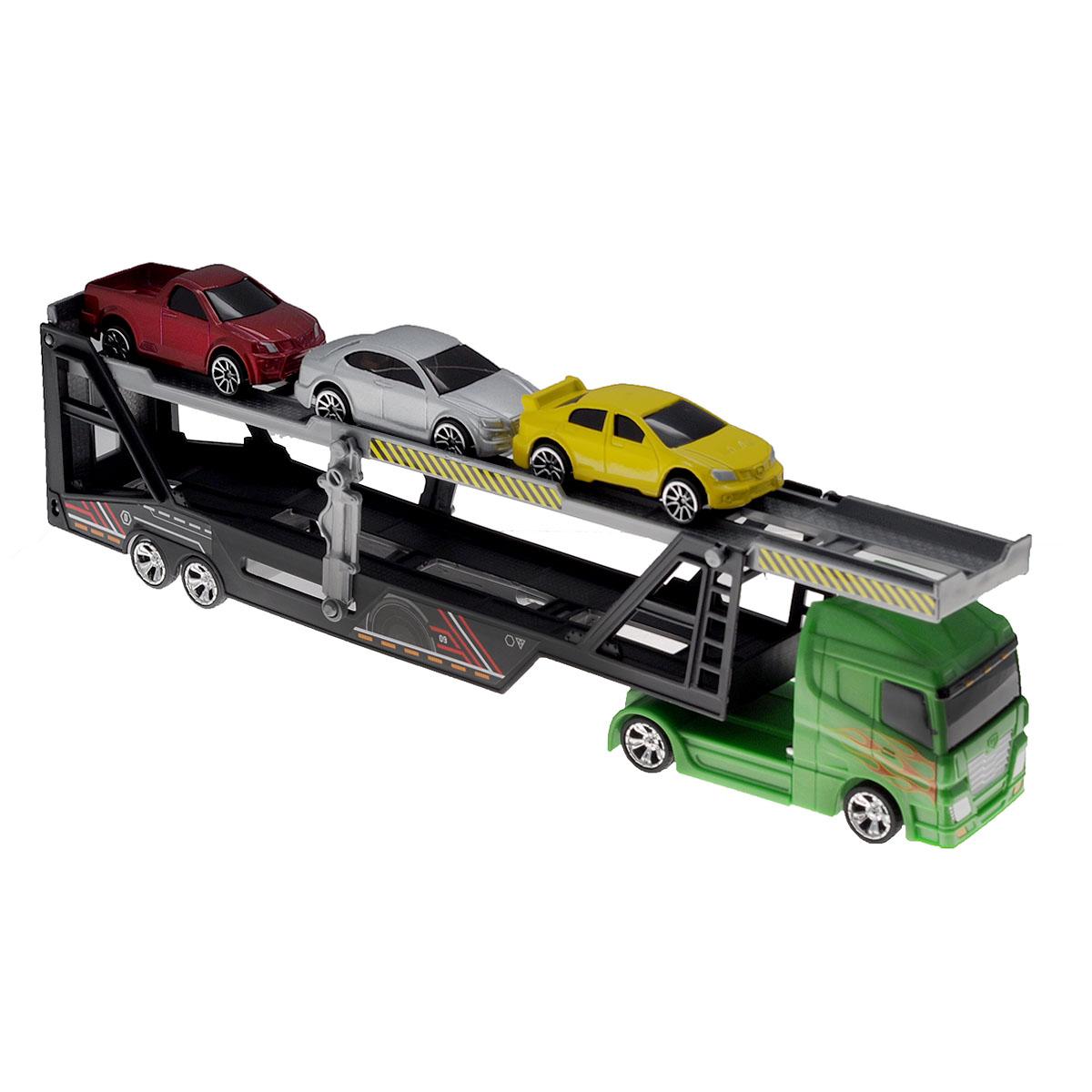 MotorMax Игровой набор Car Transporter цвет зеленый76540 зеленыйИгровой набор MotorMax Car Transporter понравится вашему маленькому любителю машинок. В него входит трейлер с рампой для погрузки машинок и 3 металлические легковые машинки серебристого, желтого и красного цветов. Элементы набора выполнены из высококачественных прочных материалов, благодаря чему прослужат очень долго. Ваш ребенок будет в восторге от такого подарка!