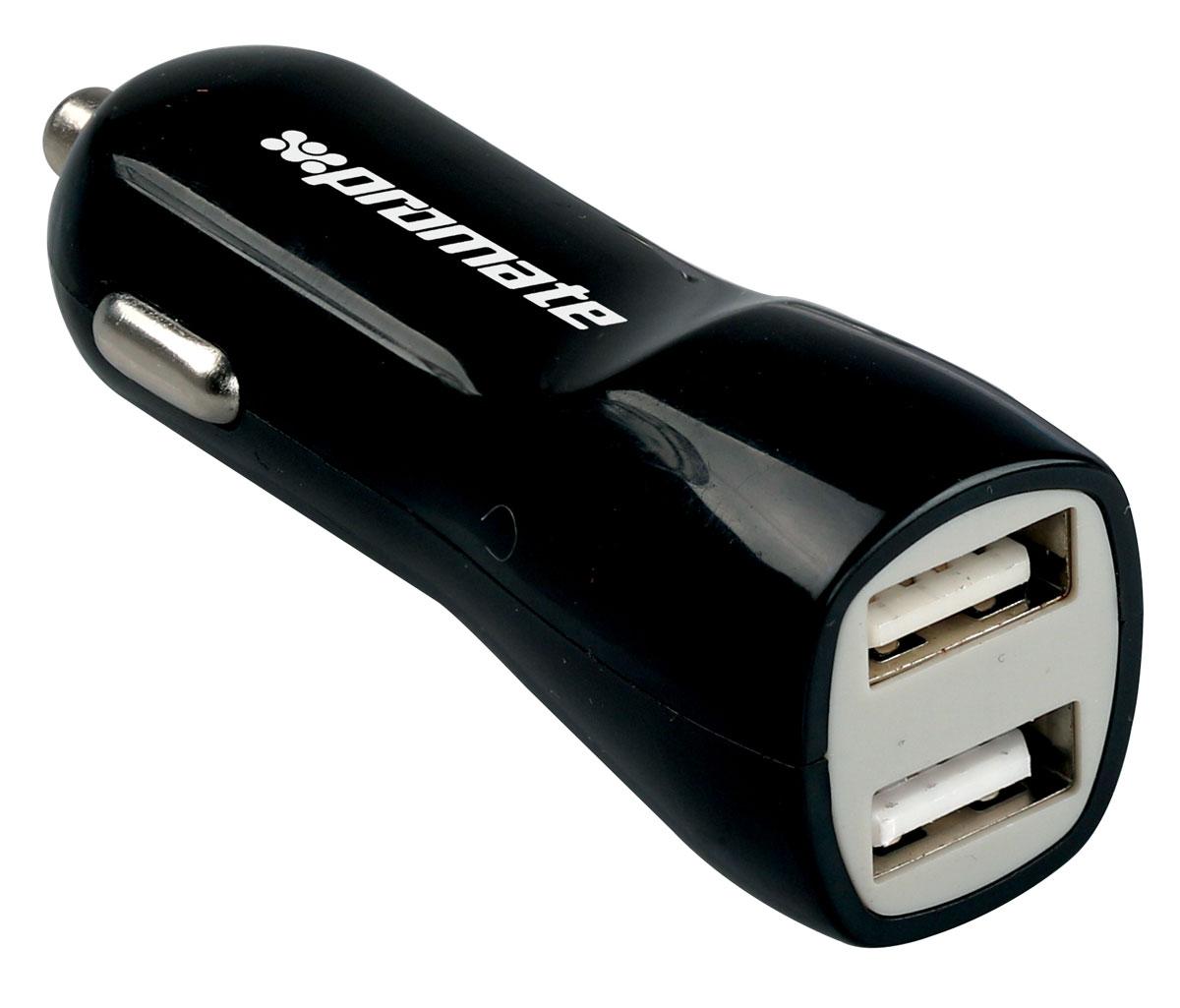 Устройство зарядное Promate Vivid, цвет: черный00007501Promate Vivid - яркое и надежное автомобильное зарядное устройство. Его эргономичная форма включает в себя два USB порта с силой тока до 3100 mA (для одновременной зарядки сразу двух девайсов) и светодиодную подсветку. Порты разнесены по току на 2,1А и 1А для оптимальной зарядки устройств с разной емкостью. Promate Vivid - это модный автомобильный девайс, призванный оперативно решать любые вопросы по зарядке всех USB совместимых устройств.