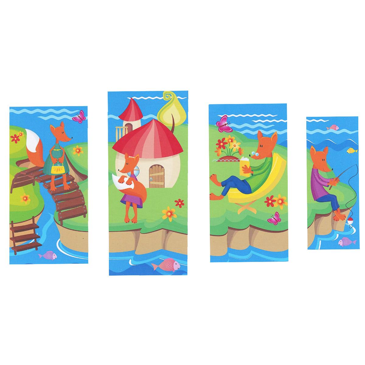 Модульная картина на холсте КвикДекор Лисичкин островок, 119 см х 70 смPSM-14-0406Модульная картина на холсте КвикДекор Лисичкин островок - это прекрасное решение для декора помещения. Картина состоит из четырех частей (модулей) разного размера, объединенных общей тематикой. Изображение переходит из одного модуля в другой. Модули вешаются на расстоянии 2-3 см друг от друга. Латексная печать (без запаха) на натуральном х/б холсте, галерейная натяжка на деревянные подрамники из высококачественной сосны. Такая картина будет потрясающе смотреться в детской комнате. Она привнесет в интерьер яркий акцент и сделает обстановку комфортной и уютной. Яркие краски и интересное оформление обязательно понравятся вашему малышу. Картина в стрейч-пленке с защитными картонными уголками упакована в гофрокоробку с термоусадкой. Размер модулей: 20 см х 50 см (1 шт); 30 см х 60 см (2 шт); 30 см х 70 см (1 шт). Количество модулей: 4 шт. Общий размер картины: 119 см х 70 см. Художник: Екатерина Копус.