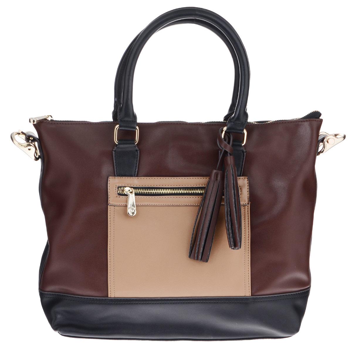 Сумка женская Renee Kler, цвет: коричневый, бежевый, черный. RK100-03RK100-03Стильная женская сумка Renee Kler изготовлена из искусственной кожи и исполнена в трех цветах. Сумка декорирована оригинальным брелоком в виде кисточек. Изделие закрывается на удобную застежку-молнию. Внутри - одно вместительное отделение, разделенное средником на молнии, два накладных кармана для мелочей и врезной карман на застежке-молнии. На лицевой и обратной сторонах сумки расположено по одному врезному карману на молнии. Дно дополнено металлическими ножками, защищающими изделие от повреждений. В комплект с сумкой входит съемный плечевой ремень. Изделие упаковано в фирменный чехол. Роскошная сумка внесет элегантные нотки в образ и подчеркнет ваше отменное чувство стиля.