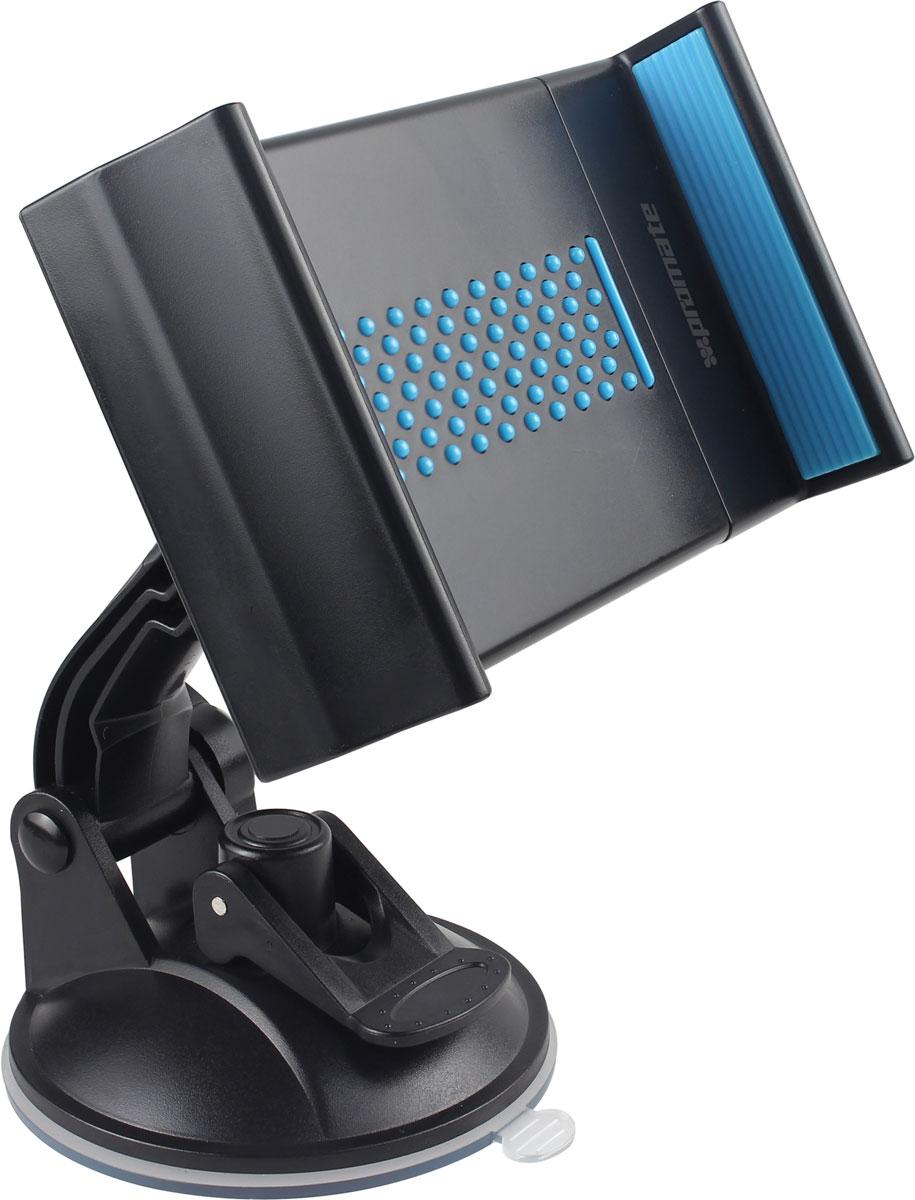 Держатель для ПК универсальный Promate Mount-Tab, цвет: голубой00008123Promate Mount-Tab дает возможность зафиксировать планшетный компьютер в любом удобном месте вашего автомобиля. Одним движением защелки мощная пневмоприсоска фиксирует держатель на любой жесткой гладкой поверхности. Благодаря шарниру в 360 градусов пользователь с легкостью может настроить для себя оптимальный угол обзора экрана. Настраиваемые фиксаторы надежно удержат ваш планшетный компьютер на месте.