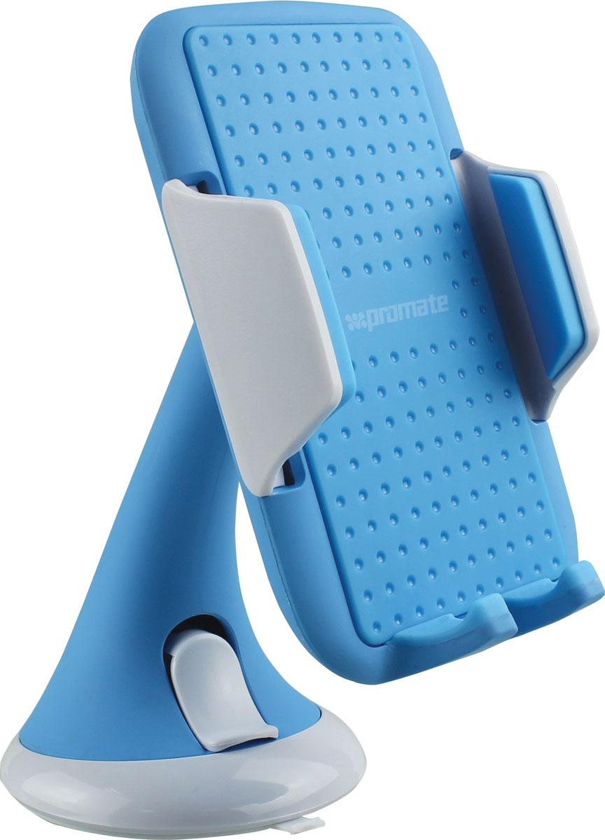 Держатель для смартфона универсальный Promate Mount-Pro, цвет: голубой00007642Promate Mount-Pro представляет собой стильный и простой в использовании держатель для смартфонов. Одним движением защелки мощная пневмо-присоска фиксирует держатель на любой жесткой гладкой поверхности. Благодаря шарниру пользователь с легкостью может настроить для себя оптимальный угол обзора экрана. Раздвижные фиксаторы с антискользящим покрытием способны зафиксировать любой смартфон шириной от 5,3 до 8,3 см. Promate Mount-Pro - это прекрасное решение для комфортного пользования смартфоном в вашем автомобиле.