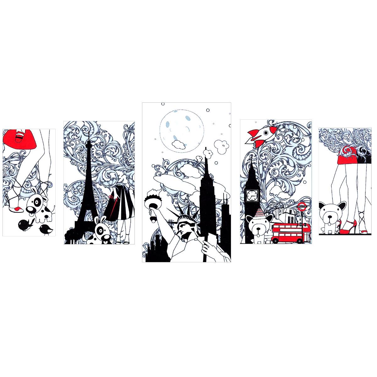 Модульная картина на холсте КвикДекор Города, 202 см х 90 смPSM-14-0402-1Модульная картина на холсте КвикДекор Города - это прекрасное решение для декора помещения. Картина состоит из пяти частей (модулей) разного размера, объединенных общей тематикой. Картина составная, то есть изображение на каждом модуле является самостоятельным. Такую композицию можно вешать как угодно - вертикально, горизонтально, со сдвигом или блоками. Модули вешаются на расстоянии 2-3 см друг от друга. Латексная печать (без запаха) на натуральном х/б холсте, галерейная натяжка на деревянные подрамники из высококачественной сосны. Такая картина будет потрясающе смотреться в детской комнате. Она привнесет в интерьер яркий акцент и сделает обстановку комфортной и уютной. Яркие краски и интересное оформление обязательно понравятся вашему малышу. Картина в стрейч-пленке с защитными картонными уголками упакована в гофрокоробку с термоусадкой.