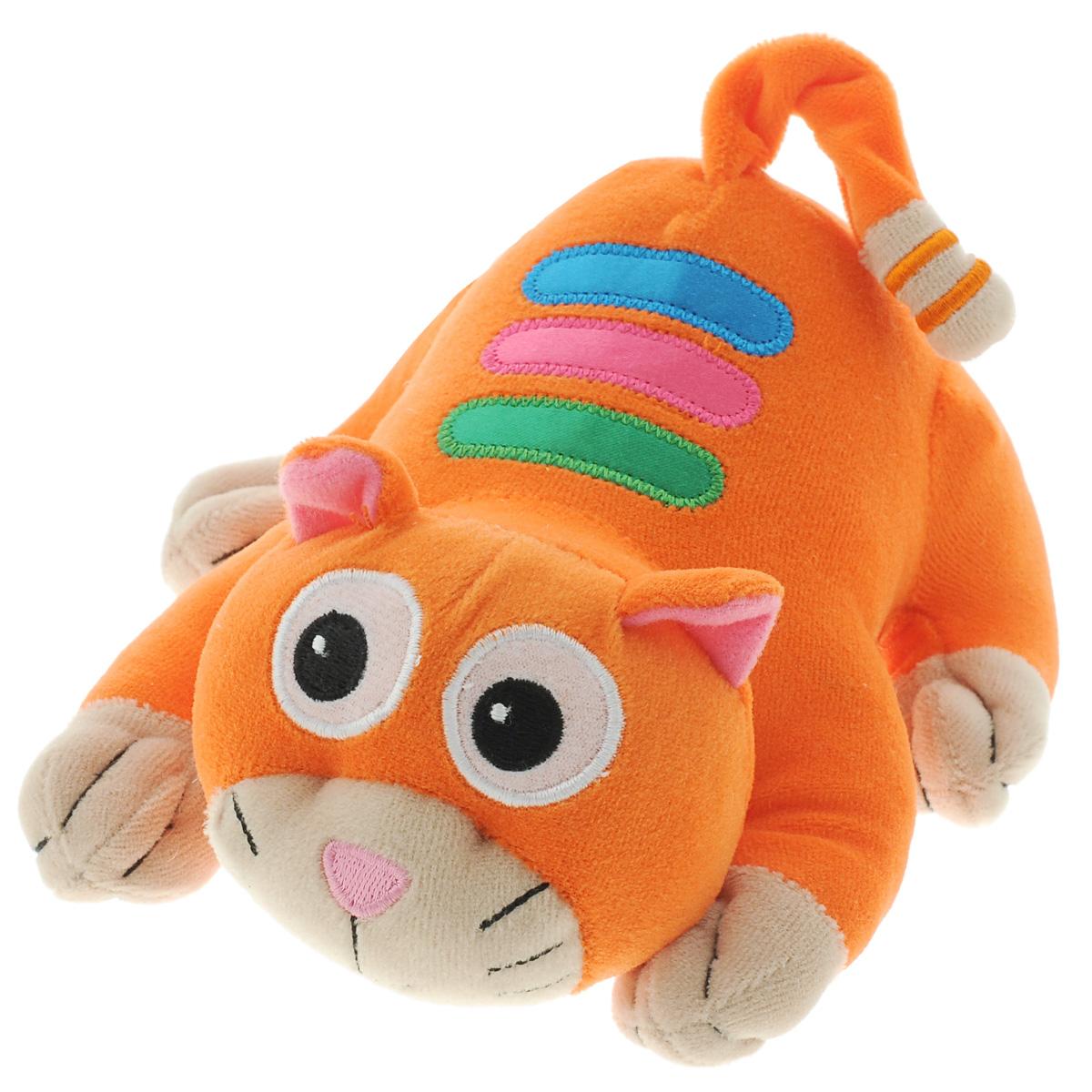 Развивающая игрушка Learning Journey Убегающий котенок146903Мягкая развивающая игрушка Learning Journey Убегающий котенок - это не только веселая, но и полезная игрушка для малыша. Она не позволит ему скучать и научит новому. Игрушка выполнена из мягкого, приятного на ощупь текстильного материала с наполнителем. Игрушка в виде очаровательного полосатого котенка подойдет даже для самых маленьких детей, ведь у нее нет твердых элементов - даже глазки котенка вышиты нитками. Нажмите на брюшко котенка - и он начнет убегать, вибрируя, воспроизводя при этом одну из 12 веселых мелодий. Малышу понравится следовать за ним и ловить убегающего котенка. С котенком можно играть и как с обычной мягкой игрушкой - он изготовлен из безопасных материалов и обязательно понравится малышу. Игры с такой игрушкой развивают мелкую моторику, звуковое восприятие и координацию движений малыша, а также способствует физическому развитию. Рекомендуется докупить 2 батарейки напряжением 1,5V типа АА (товар комплектуется демонстрационными).