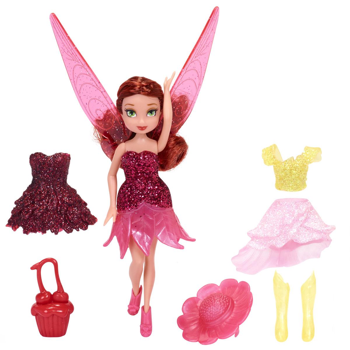 Кукла Disney Fairies Rosettas Pixie Sparkle Fashions, с аксессуарами, 11 см818020Очаровательная кукла Disney Fairies Rosettas Pixie Sparkle Fashions порадует любую девочку и обязательно станет ее любимой игрушкой. Кукла выполнена из прочного пластика. У нее длинные волосы, которые ваша малышка сможет расчесывать и заплетать. Куколка одета в сверкающее платье феи, очаровательную шляпку в виде цветка, на ножках - полусапожки, а в руках у нее - красная сумочка. Также в комплект входят дополнительные наряды: блестящие топ и юбка, высокие сапожки и бордовое платье с юбочкой в виде лепестков. Завершают сказочный образ полупрозрачные крылья феи. Голова, ручки и ножки куклы подвижны. Игры с куклой способствуют эмоциональному развитию ребенка, а также помогают формировать воображение и художественный вкус. Малышка проведет множество счастливых часов, играя с очаровательной феей. Великолепное качество исполнения делают эту игрушку чудесным подарком к любому празднику.