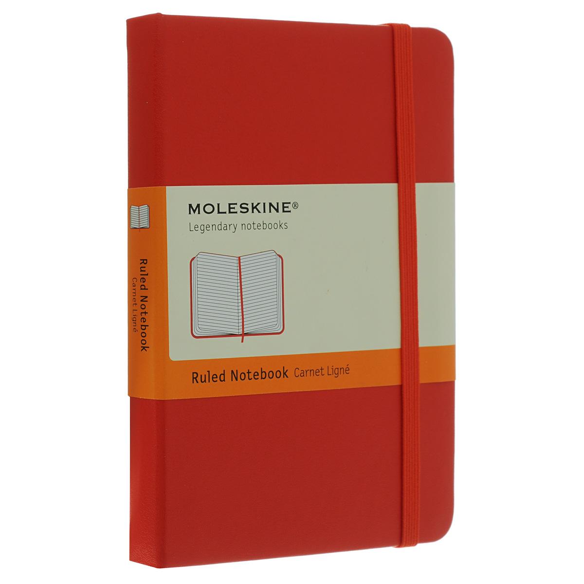 Блокнот Moleskine Moleskine Classic Moleskine Classic (в линейку) Pocket красный 9,5 см х 14 смQP013ENБлокнот Moleskine Classic - прекрасный инструмент для записи мыслей и важных заметок. Содержит 192 страницы в линейку. Неповторимые черты блокнота Молескин: Удобная эластичная резинка-застежка; Прочная влагозащитная обложка; Прошитый нитками переплет; Практичные скругленные углы; Не желтеющие со временем страницы; Быстро впитывающая чернила бумага; Функциональная закладка ляссе; Вместительный внутренний кармашек на задней обложке.