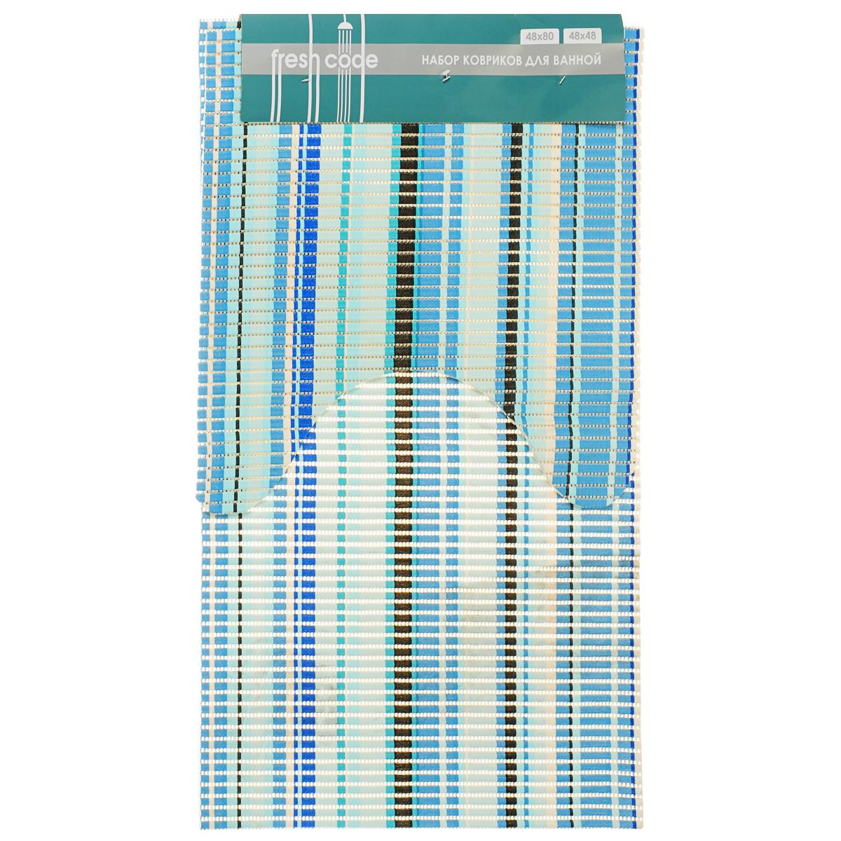 Комплект ковриков для ванной Fresh Code, цвет: голубой, белый, 2 предмета61216Комплект Fresh Code состоит из коврика для ванной комнаты и туалета. Коврики выполнены из мягкого ПВХ с шероховатой антискользящей поверхностью, которая создает комфортное покрытие в ванной комнате. Поверхность ковриков перфорирована. Красивый яркий рисунок декорирует ванную комнату. Рекомендации по уходу: протрите коврик влажной губкой с моющим средством, тщательно ополосните чистой водой и просушите. Набор для ванной Fresh Code подарит ощущение тепла и комфорта, а также привнесет уют в вашу ванную комнату. Размер коврика для ванной комнаты: 48 х 80 см. Размер коврика для туалета: 48 х 48 см.