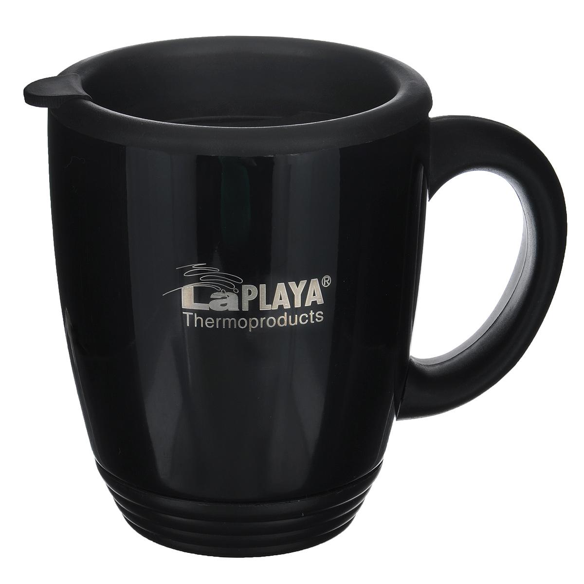 Термокружка LaPlaya, цвет: черный, 450 мл560022Корпус термокружки LaPlaya изготовлен из нержавеющей стали с двумя стенками. Внешнее покрытие - лаковое. Основание, ручка и крышка термокружки изготовлены из прочного пластика. Крышка оснащена отверстием для удобного питья. Крышка имеет термоусадку, плотно закрывается и легко открывается. Термокружка LaPlaya идеально подходит для использования в офисе и дома, на отдыхе и во время путешествий.