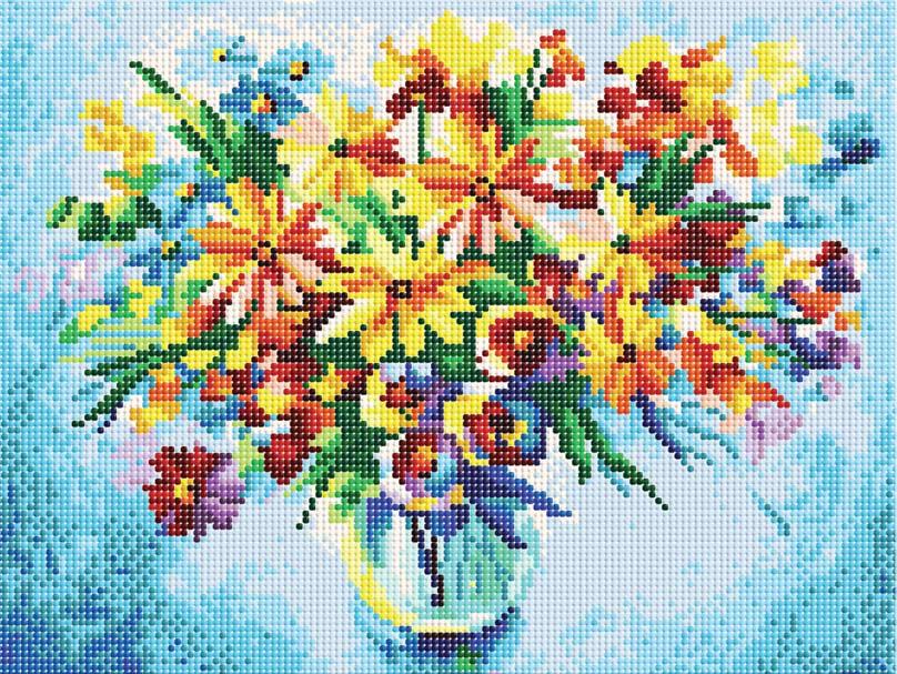 Набор для творчества Алмазная мозаика. Разноцветные ромашки, 30 см х 40 см611-RS-R Разноцветные ромашкиНабор для создания картины со стразами - это новый вид творчества, который поможет создать оригинальный элемент для украшения интерьера. В наборе имеется канва с частично нанесенной схемой. С помощью пинцета и клея стразы размещаются на канву. В результате проявляется рисунок. Попробуйте новую технику рукоделия - вышивка без иглы. Просто выложите стразы по схеме на клеевую основу и получите шедевр! Вы получите наслаждение от творчества и удивительно красивую картину для вашего интерьера! Автор: Леонид Афремов. В набор входит: - основа картины, - холст на подрамнике со схемой, - крепления для подвешивания, - комплект круглых страз (диаметр 2,8 мм, 22 цвета), - пинцет, - пластмассовый лоток с ячейками, - пластиковый карандаш для страз, - жидкий клей.