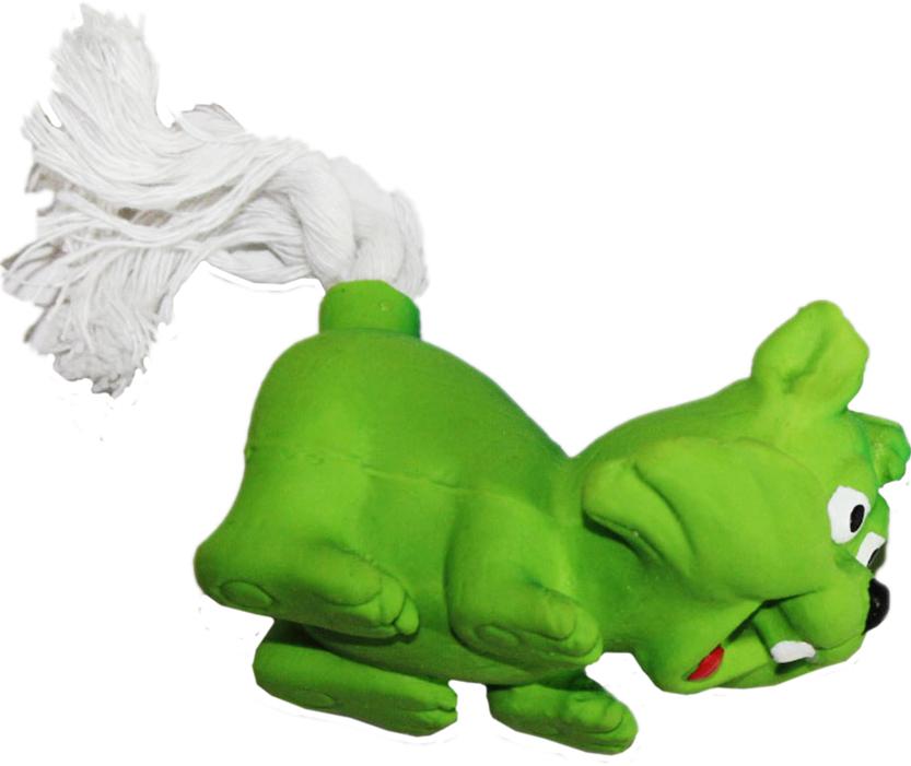"""Игрушка для собак Ziver """"Лиса с веревочным хвостом"""", с пищалкой, цвет: зеленый, длина 11 см 40.ZV.097"""