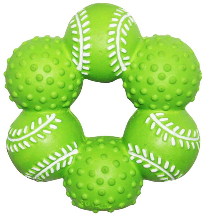 Игрушка для собак Ziver Кольцо из мячей, с пищалкой, цвет: зеленый, диаметр 10 см40.ZV.084Игрушка Ziver Кольцо из мячей изготовлена из высококачественного латекса с использованием только безопасных, не токсичных красителей. Игрушка выполнена в виде кольца из мячей и при надавливании или захвате пастью пищит. Привлечет внимание вашего любимца, позволит весело провести ему время, не навредит здоровью, а также поможет вам сохранить в целости личные вещи и предметы интерьера. Рифленая игольчатая поверхность игрушки прекрасно массирует десна. Размер: 10 см х 10 см х 3,5 см.