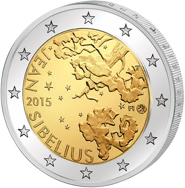 Монета номиналом 2 евро 150-летие Яна Сибелиуса. Финляндия, 2015 годK421306Диаметр: 2,5 см. Сохранность UNC (без обращения).