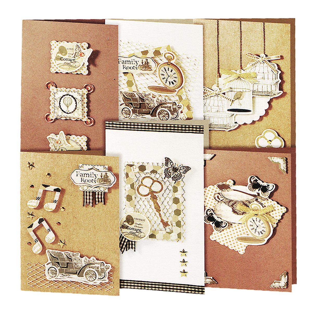 Набор для создания открыток Белоснежка Карнавал, 6 шт216-SBНабор для создания открыток Белоснежка Карнавал позволит вам и вашему ребенку создать 6 оригинальных открыток из картона в стиле 3D скрапбукинг. Набор включает в себя все необходимое для работы: 6 заготовок для открыток, 6 конвертов, клеевые подушечки, бумага для скрапбукинга, декоративные элементы (вырубка из бумаги, ленты, паетки, стразы, полубусины) и подробную инструкцию на русском языке. Скрапбукинг - это хобби, которое способно приносить массу приятных эмоций не только человеку, который этим занимается, но и его близким, друзьям, родным. Это невероятно увлекательное занятие, которое поможет вам сохранить наиболее памятные и яркие моменты вашей жизни, а также интересно оформить интерьер дома. Размер малой открытки: 11,5 см х 17 см. Размер большой открытки: 11,5 см х 21 см.
