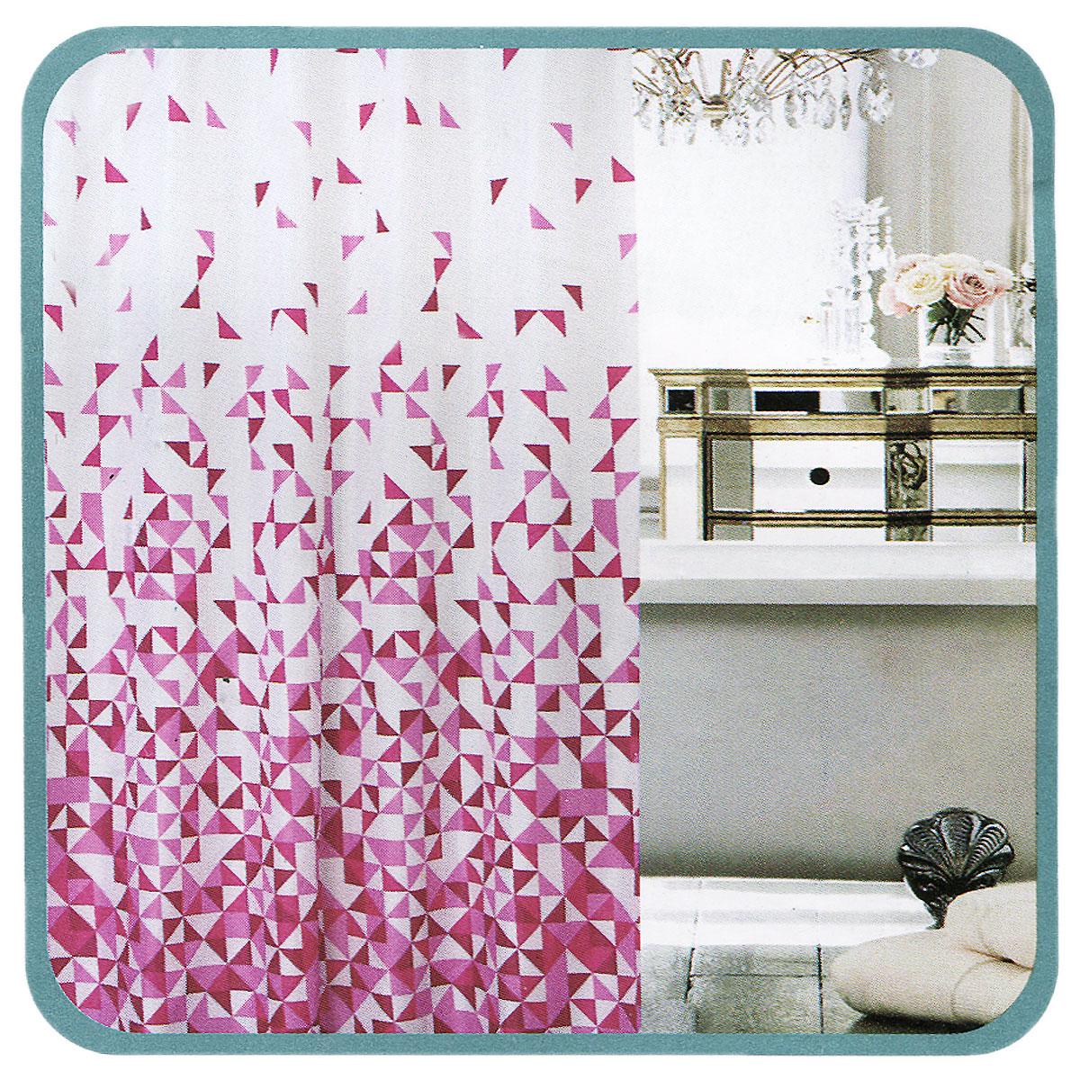 Штора для ванной Fresh Code Розовый треугольник, цвет: белый, розовый, 180 х 180 см56955Штора для душа Fresh Code Розовый треугольник из 100% плотного полиэстера с водоотталкивающей поверхностью идеально защищает ванную комнату от брызг. Прочные отверстия для колец позволяют надежно закрепить штору на штанге, а гибкий металлический утяжелитель в нижней кромке поддерживает ее в расправленной форме. Штору можно легко почистить мягкой губкой с мылом или постирать ее с мягким моющим средством в деликатном режиме.