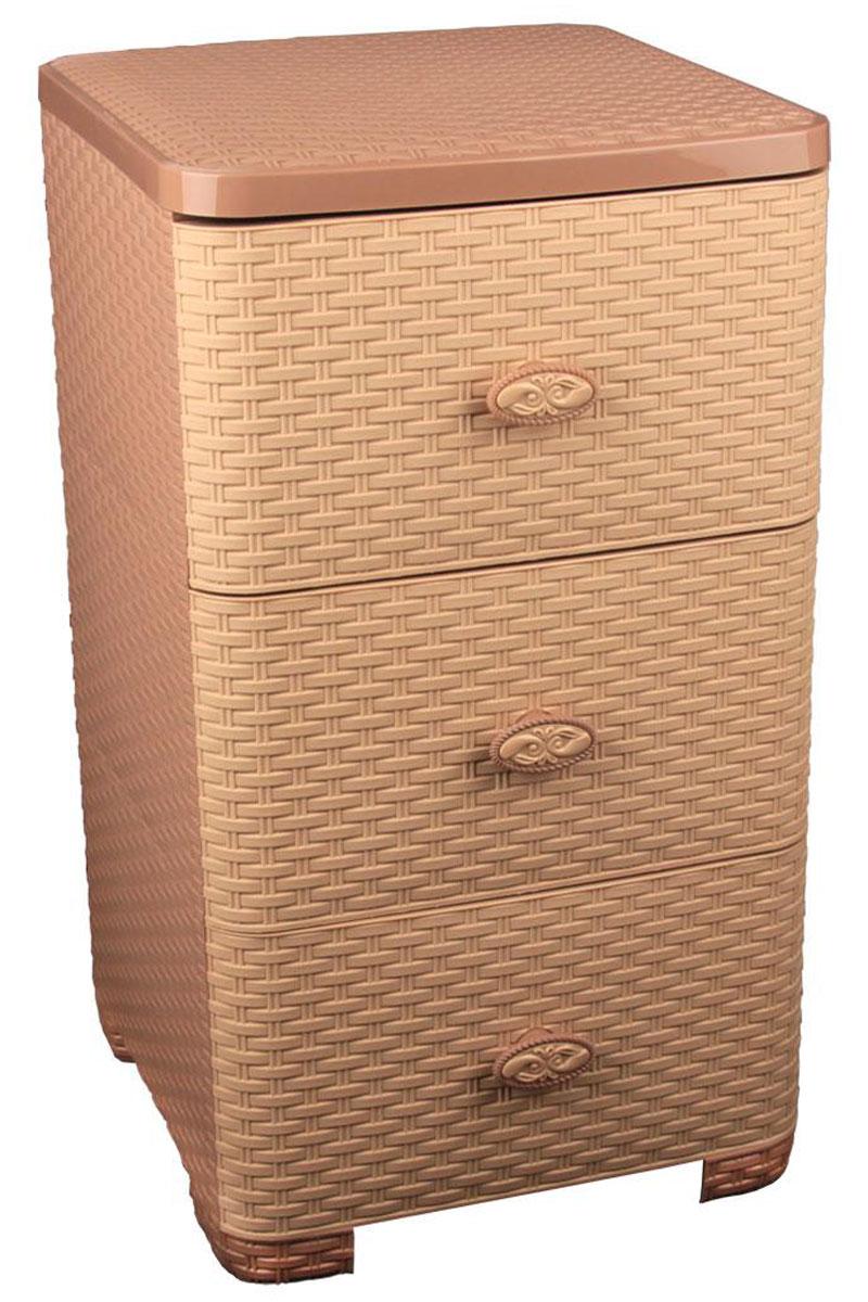 Комод Альтернатива Плетенка, цвет: какао, 37,5 см х 36 см х 63 смМ2432Комод Альтернатива Плетенка изготовлен из высококачественного пластика. Предназначен для хранения различных вещей, игрушек, канцтоваров и состоит из трех вместительных секций. Комод оснащен колесиками для удобства транспортировки. Такой необычный комод надежно защитит вещи от загрязнений, пыли и моли, а также позволит вам хранить их компактно и с удобством. Размер ящиков: 35 см х 38 см х 19 см.