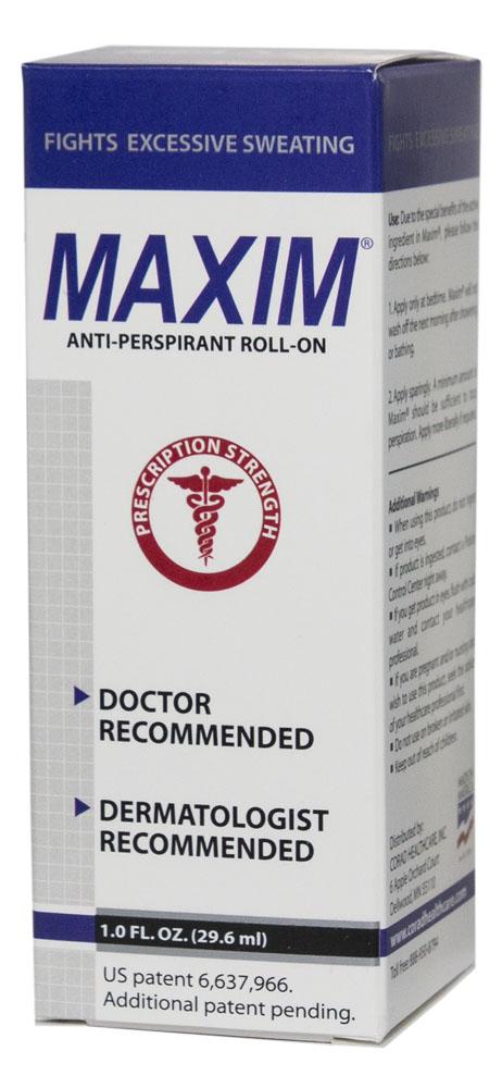 Maxim 15% Дезодорант-антиперсперант с шариковым аппликатором для нормальной кожи, 29,5 мл0027Антиперспирант Maxim для нормальной кожи — уникальный роликовый антиперспирант на водной основе. Он не содержит спирта, а значит совершенно безвреден для Вашей кожи. Подходит для длительного применения. Действие: Антиперспирант Maxim 15% устраняет проблему гипергидроза, не блокируя потовыводящие железы. Сухость достигается сужением пор кожи при взаимодействии хлорида алюминия с кожным белком. В организме при этом идет перераспределение выделений пота на те участки, где это происходит легче для организма. Также вода может выводиться при помощи почек. После обработки мы получаем сухой участок кожи и не страдаем от компенсаторного гипергидроза в других местах. Полная нерастворимость алюминиево-белковых образований и 0% спирта гарантирует отсутствие абсорбции алюминия в организме и делает дезодорант Maxim 15% очень безопасным в долгосрочном использовании. • Не имеет запаха; • Экономичность флакона гарантирует вам его использование в течение 6–12 месяцев; • Антиперспирант Maxim защитит Ваш...