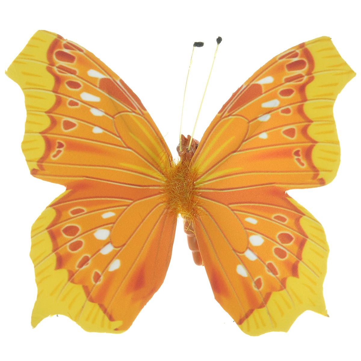 Декоративный элемент Hobby Time Бабочка, цвет: оранжевый, 6 см х 7 см. 77054787705478Декоративный элемент Hobby Time Бабочка, изготовленный из текстиля, предназначен для декорирования. Он может пригодиться в оформлении одежды, предметов интерьера, подарков, цветочных букетов, а также в скрапбукинге. Изделие выполнено в виде яркой бабочки, декорированной оригинальным узором. С оборотной стороны бабочка оснащена металлической клипсой.