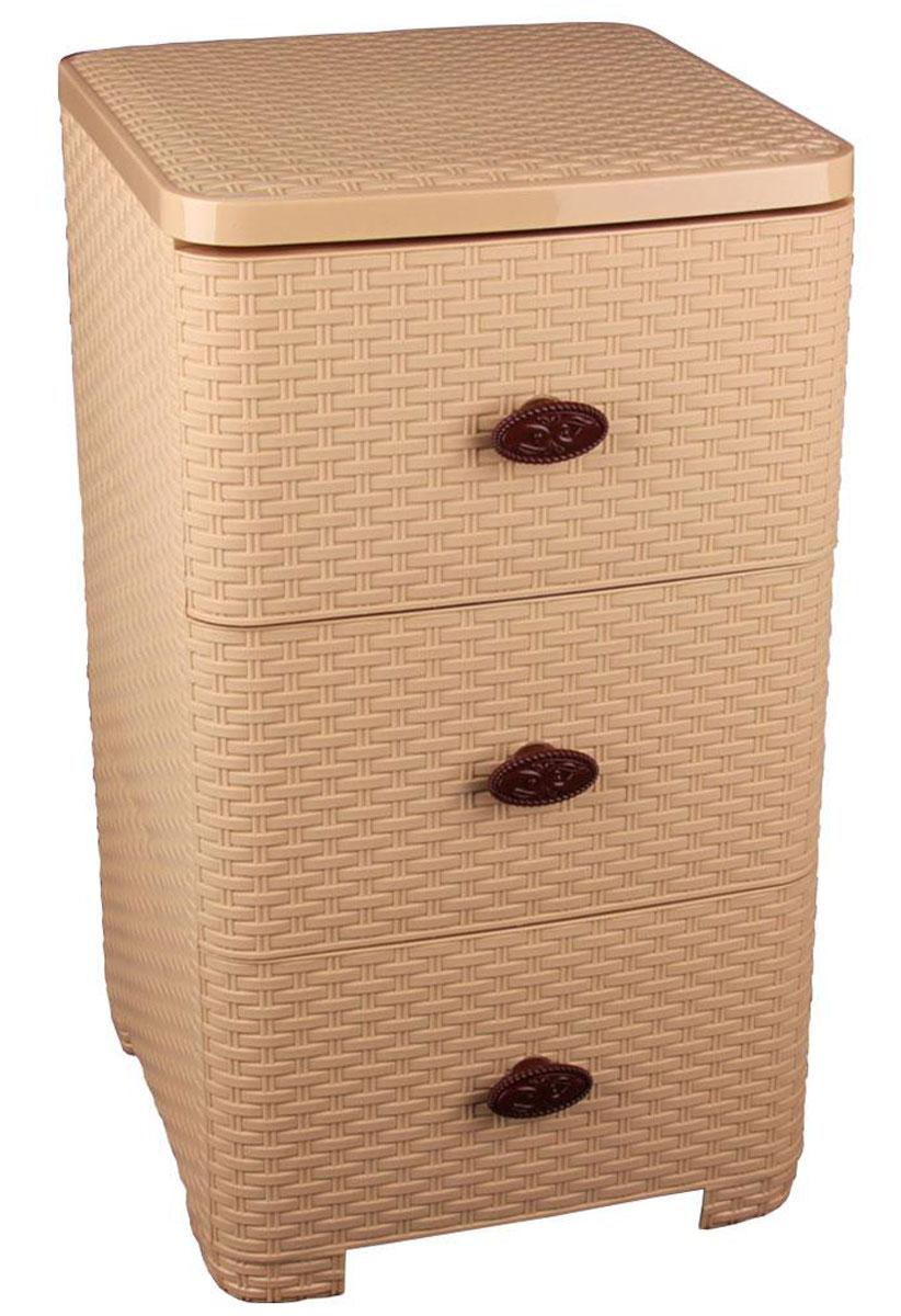 Комод Альтернатива Плетенка, цвет: бежевый, 37,5 х 36 х 63 смМ2431Комод Альтернатива Плетенка изготовлен из высококачественного пластика. Предназначен для хранения различных вещей, игрушек, канцтоваров и состоит из трех вместительных секций. Комод оснащен колесиками для удобства транспортировки. Такой необычный комод надежно защитит вещи от загрязнений, пыли и моли, а также позволит вам хранить их компактно и с удобством.