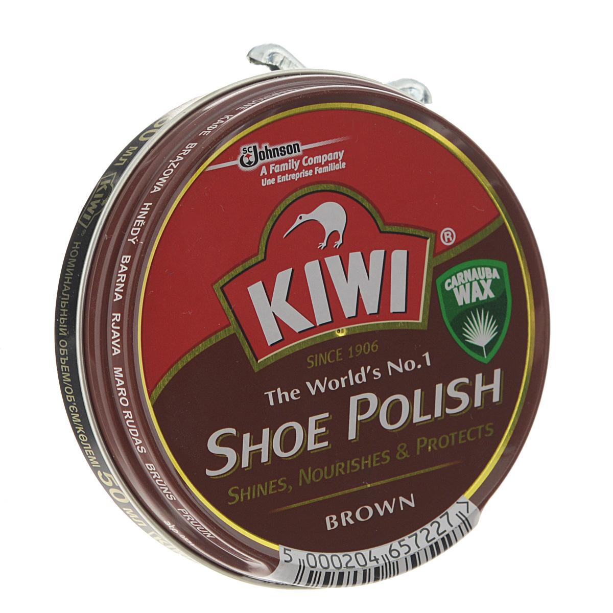Крем для обуви Kiwi Shoe Polish, цвет: коричневый, 50 мл632089Самый популярный в мире крем в банке Kiwi Shoe Polish предназначен для ухода за изделиями из гладкой кожи. В состав крема входит уникальный воск листьев пальмы Carnauba, произрастающей в джунглях Южной Америки. Наличие крышки-щелчок гарантирует легкость открываний.
