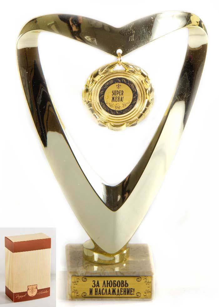 Кубок Сердце Super жена,h15см, картонная коробка030501016Фигурка подарочная ввиде серца с подвесной медалькой из пластика с основанием из искусственного мрамора h 15см