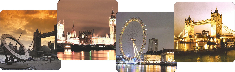 Набор подставок под кружки GiftnHome Лондон - вечернее настроение, 10 х 10 см, 4 штCST001L-NFНабор GiftnHome Лондон - вечернее настроение содержит четыре квадратные подставки под кружки, выполненные из пробки. Подставки украшены разными изображениями достопримечательностей вечернего Лондона. Ламинированное покрытие изделий обеспечивает стойкость к высоким температурам. Такие подставки защищают поверхность стола от загрязнений и воздействия высоких температур напитка. Яркий дизайн подставок украсит интерьер вашей кухни и привнесет индивидуальности в обычную сервировку стола. Не рекомендуется полностью погружать изделие в воду. Предельная температура 90°С. Размер подставки: 10 см х 10 см х 0,4 см.