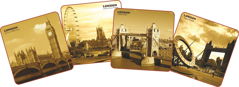 Набор подставок под кружки GiftnHome Лондон, 10 см х 10 см, 4 штCST001L-VintageНабор GiftnHome Лондон содержит четыре квадратные подставки под кружки, выполненные из пробки. Подставки украшены разными изображениями достопримечательностей Лондона в винтажном стиле. Ламинированное покрытие изделий обеспечивает стойкость к высоким температурам. Такие подставки защищают поверхность стола от загрязнений и воздействия высоких температур напитка. Яркий дизайн подставок украсит интерьер вашей кухни и привнесет индивидуальности в обычную сервировку стола. Не рекомендуется полностью погружать изделие в воду. Предельная температура 90°С. Размер подставки: 10 см х 10 см х 0,4 см.