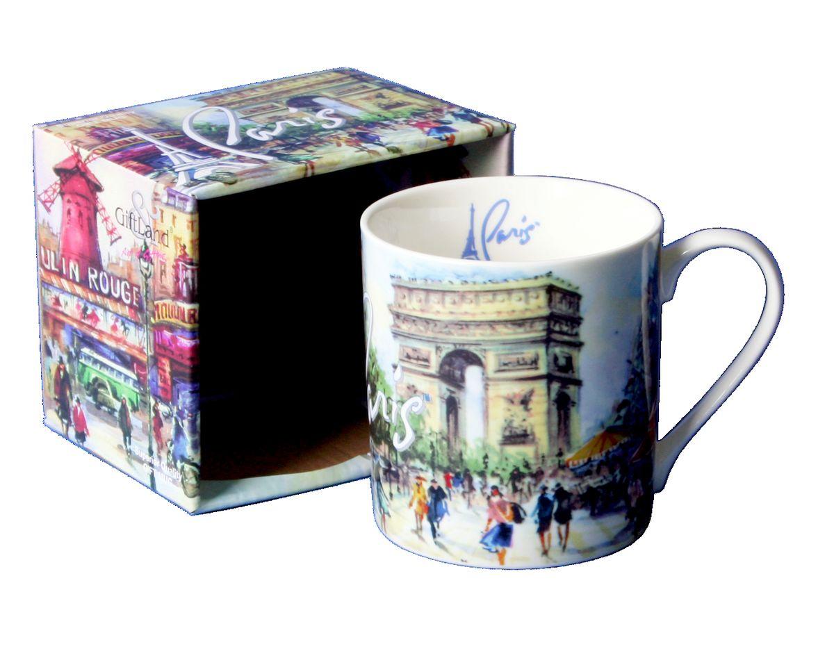 Кружка GiftLand Париж-Париж, 400 млM013-PparКружка GiftLand Париж-Париж изготовлена из костяного фарфора и оформлена красочным изображением достопримечательностей Парижа. Кружка упакована в красивую подарочную коробку. Оригинальная кружка порадует вас ярким дизайном и станет неизменным атрибутом чаепития. Прекрасно подойдет в качестве сувенира. Изделие пригодно для использования в посудомоечной машине и микроволновой печи. Диаметр кружки: 8,5 см. Высота: 9 см. Объем: 400 мл.