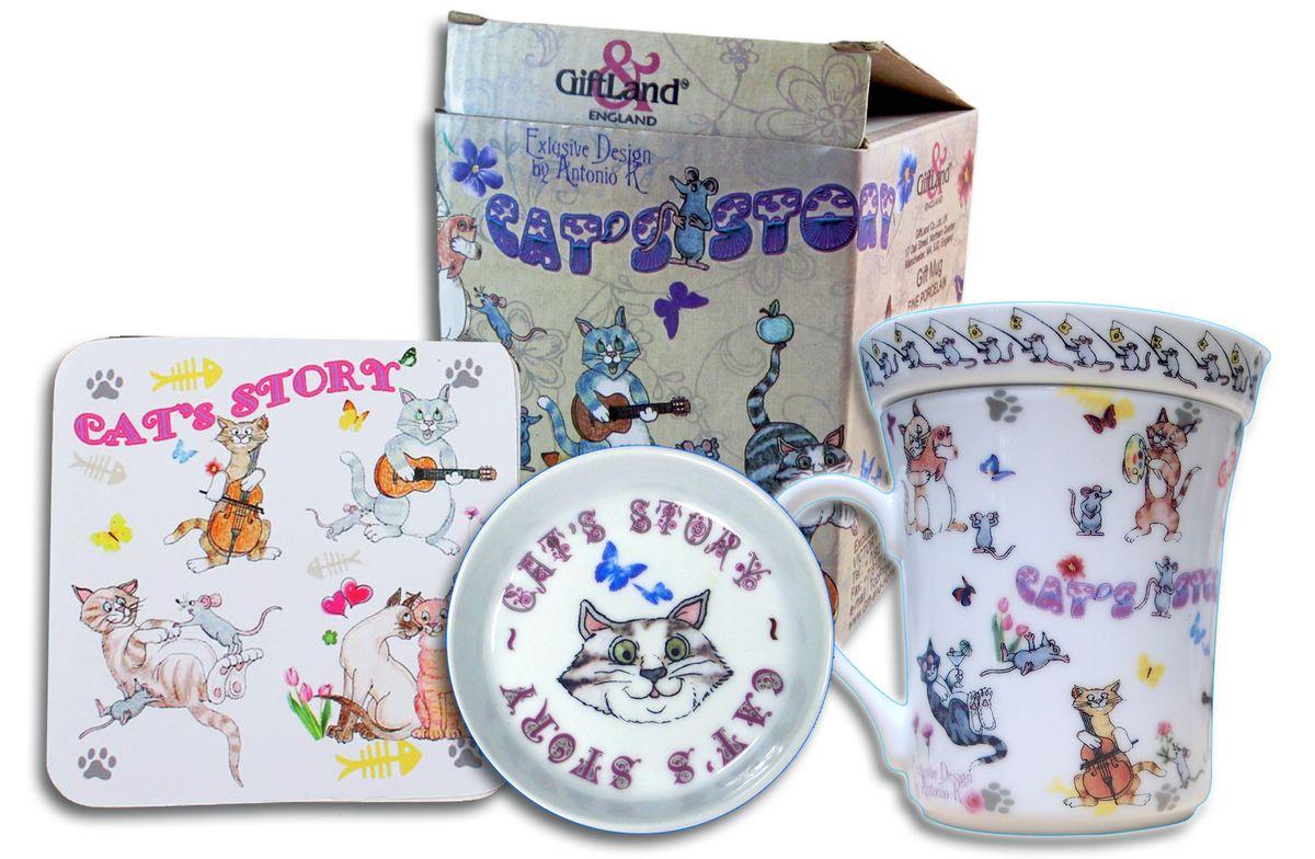 Набор чайный GiftLand Веселые кошки, 3 предметаM0857-GBCatsЧайный набор GiftLand Веселые кошки состоит из кружки, подставки под кружку и крышки- блюдца. Все изделия декорированы красочным изображением кошек. Кружка и крышка-блюдце изготовлены из высококачественного фарфора. Крышка-блюдце может служить подставкой под чайные пакетики, крышкой для кружки или блюдцем для джема и меда. Подставка под кружку изготовлена из пробки. Ламинированное покрытие изделия обеспечивает стойкость к высоким температурам. Подставка защитит поверхность стола от загрязнений и воздействия высоких температур напитка. Чайный набор GiftLand Веселые кошки прекрасно подойдет в качестве сувенира. Изделия пригодны для использования в посудомоечной машине и микроволновой печи. Диаметр кружки: 8,5 см. Высота: 9,5 см. Объем: 300 мл. Диаметр крышки-блюдца: 9,5 см. Высота крышки-блюдца: 2 см. Размер подставки: 9,5 см х 9,5 см х 0,4 см.