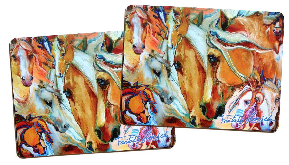 Подставка под горячее GiftnHome Фантазии о лошадях, пробковая, 21,5 см х 29 см, 2 штPLM-02 FHorseПодставки под горячее GiftnHome Фантазии о лошадях изготовлены из пробки - натурального экологичного материала. В наборе - 2 подставки, декорированные изображением лошадей. Изделия имеют защитное покрытие на лицевой стороне, которое обеспечивает стойкость к горячему и влаге. Предельная температура, которую выдерживают подставки, составляет 90°С. Изящный дизайн подставок прекрасно дополнит интерьер вашей кухни. Не рекомендуется погружать в воду полностью. Размер подставки: 21,5 см х 29 см.