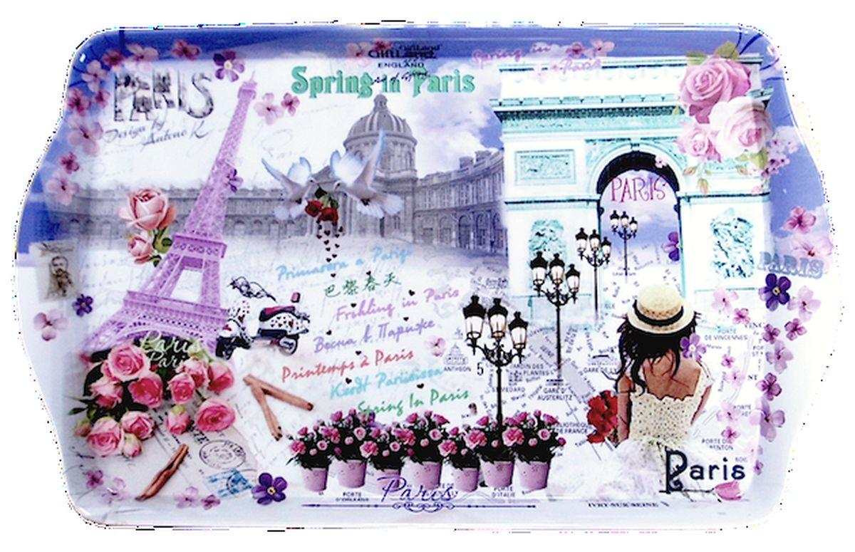 Поднос сервировочный GiftLand Весна в Париже, 38,8 x 24 смML-001 ВеснаПрямоугольный поднос GiftLand Весна в Париже выполнен из высококачественного, жаропрочного пластика и украшен изображением Парижа. Красочный дизайн подноса придаст оригинальность и яркость любой кухне или столовой. Такой поднос станет незаменимым предметом для сервировки стола. Компактный поднос предохранит поверхность стола от грязи и перегрева. Изделие устойчиво к высоким температурам. Можно мыть в посудомоечной машине и использовать в микроволновой печи. Размер подноса: 38,8 см x 24 см. Высота подноса: 2,2 см.