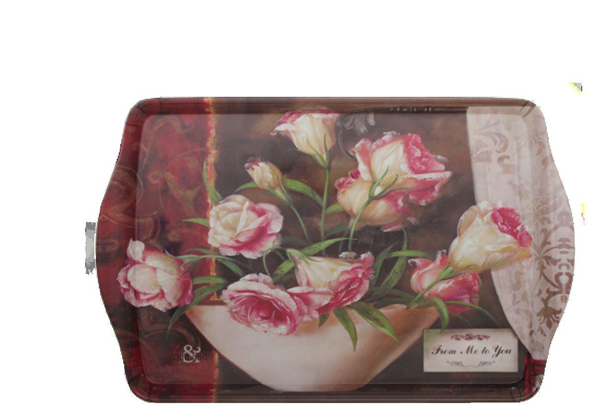 Поднос сервировочный GiftLand Vintage Roses, 38,8 x 24 смML001- VRПрямоугольный поднос GiftLand Vintage Roses выполнен из высококачественного, жаропрочного пластика и украшен изображением роз. Красочный дизайн подноса придаст оригинальность и яркость любой кухне или столовой. Такой поднос станет незаменимым предметом для сервировки стола. Компактный поднос предохранит поверхность стола от грязи и перегрева. Размер подноса: 38,8 см x 24 см. Высота подноса: 2,2 см.