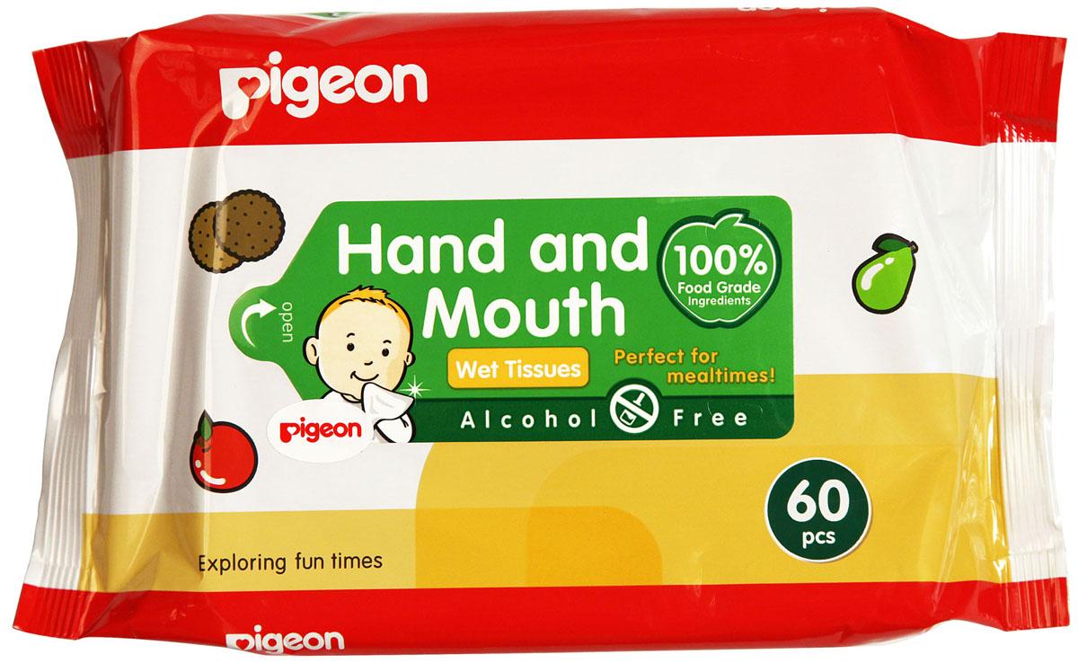 Pigeon Салфетки влажные детские, 60 шт334900481Влажные салфетки Pigeon абсолютно безопасны для детей с рождения. Разработаны для ежедневной гигиены малышей: для очищения рук, ротика малыша во время кормления. Также незаменимы в дороге для гигиенической обработки пустышек, игрушек, фруктов и овощей и др. После их использования не требуется дополнительного ополаскивания водой. Пропитаны 100% натуральным составом, компоненты которого используются в пищевой промышленности. Не содержат спирта. Товар сертифицирован.